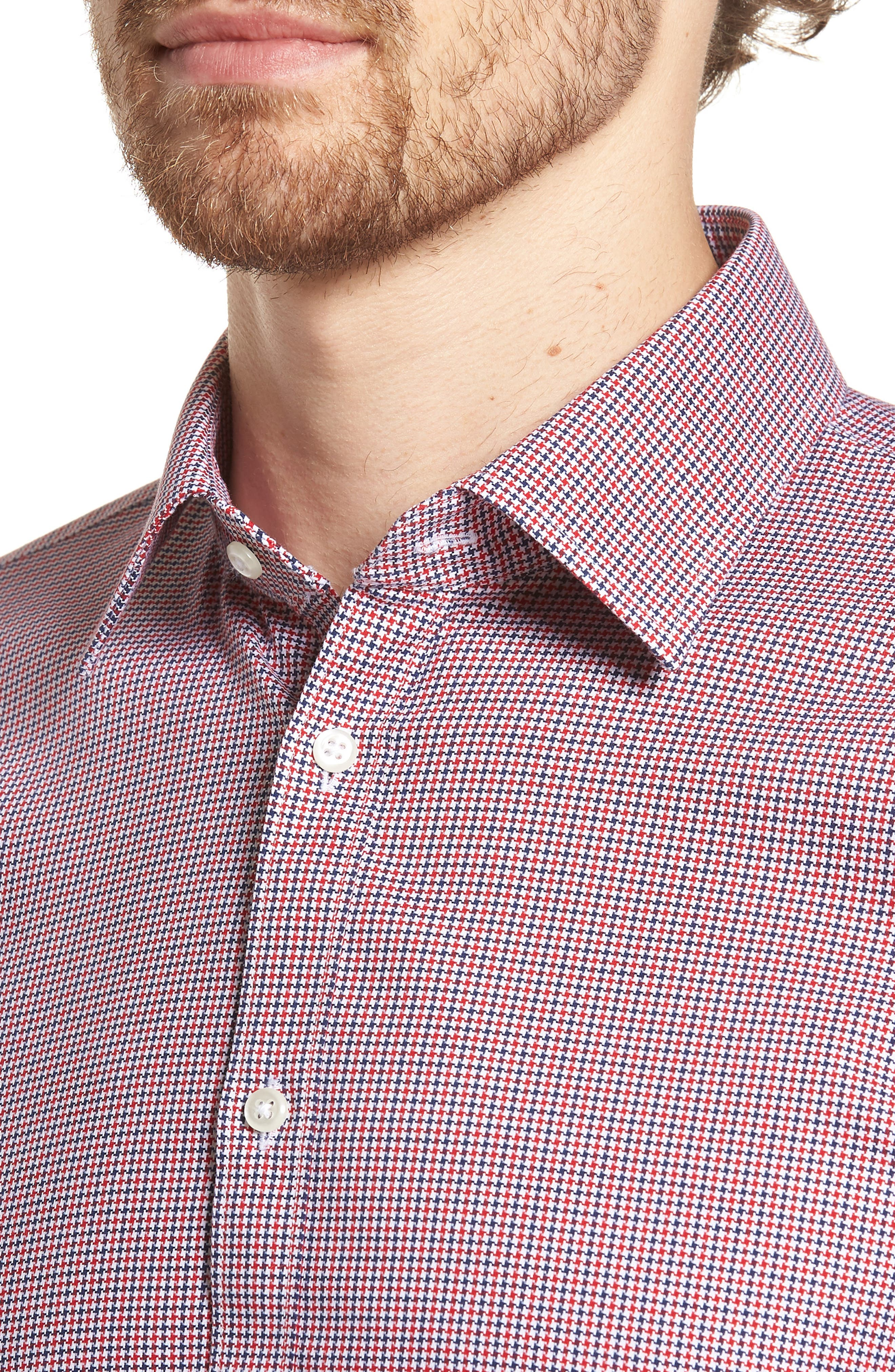 Smartcare<sup>™</sup> Extra Trim Fit Houndstooth Dress Shirt,                             Alternate thumbnail 2, color,                             Red Chili
