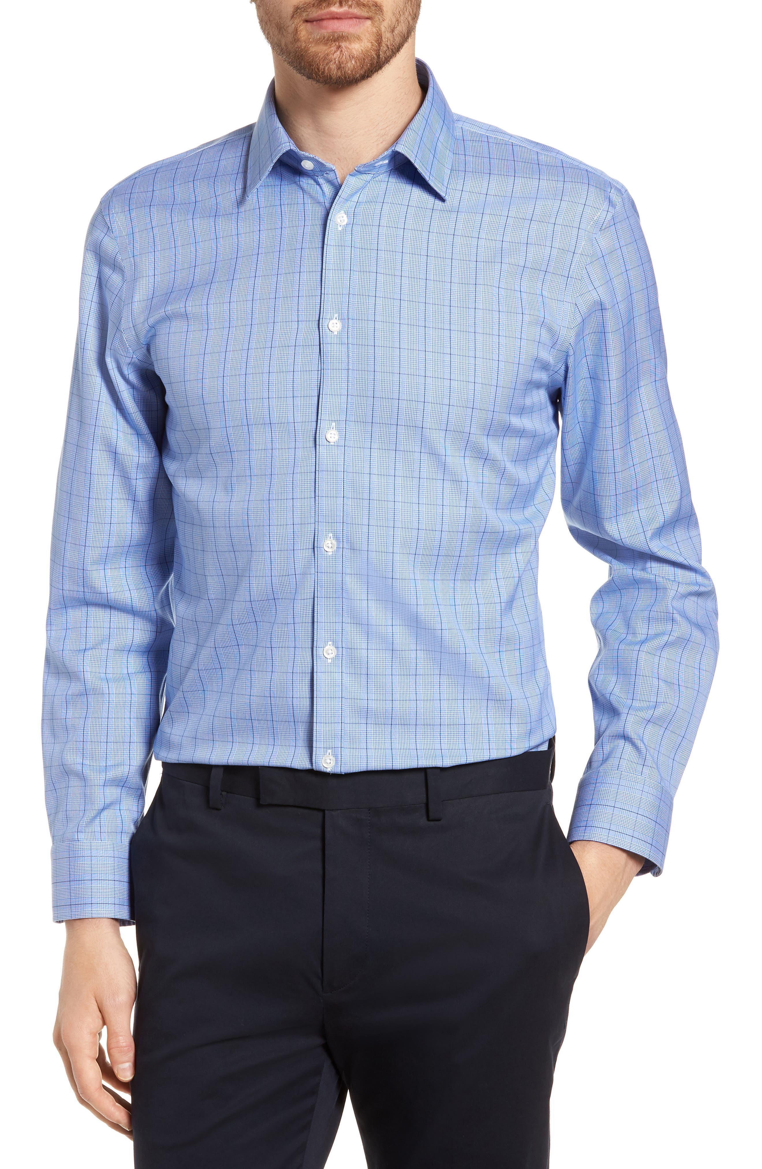 Main Image - Nordstrom Men's Shop Smartcare™ Extra Trim Fit Plaid Dress Shirt