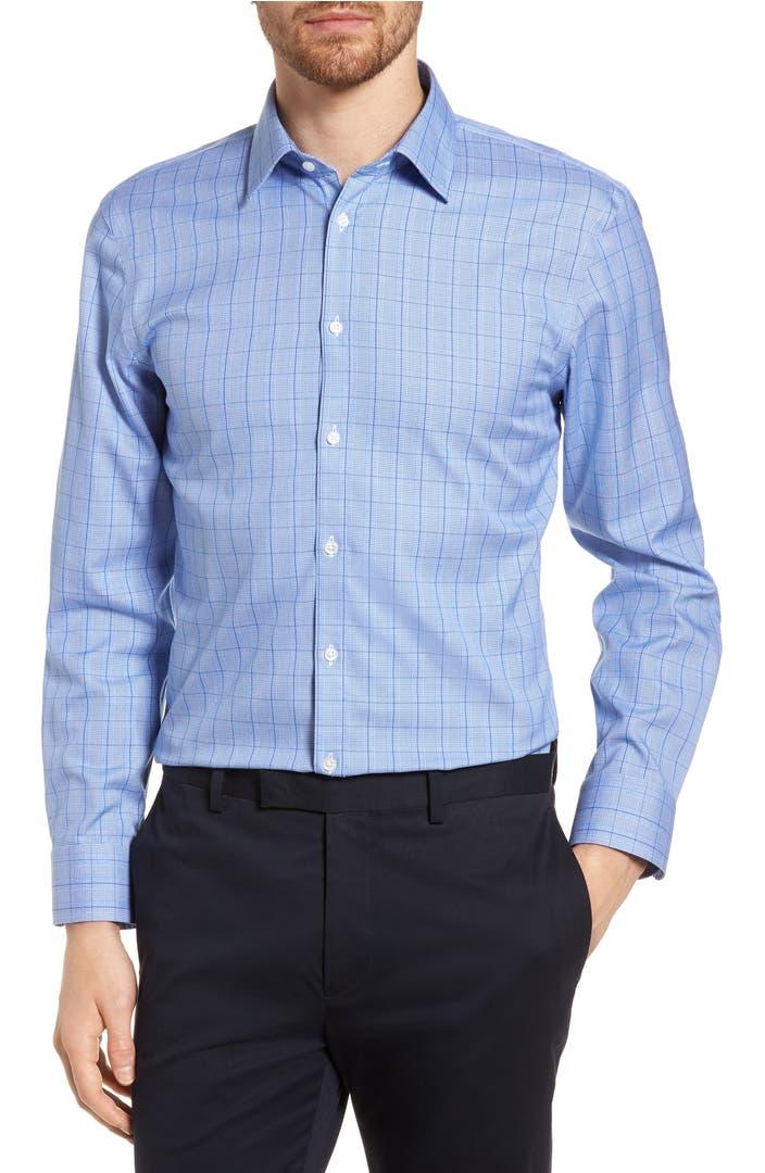Nordstrom men 39 s shop smartcare extra trim fit plaid dress for Extra trim fit dress shirt