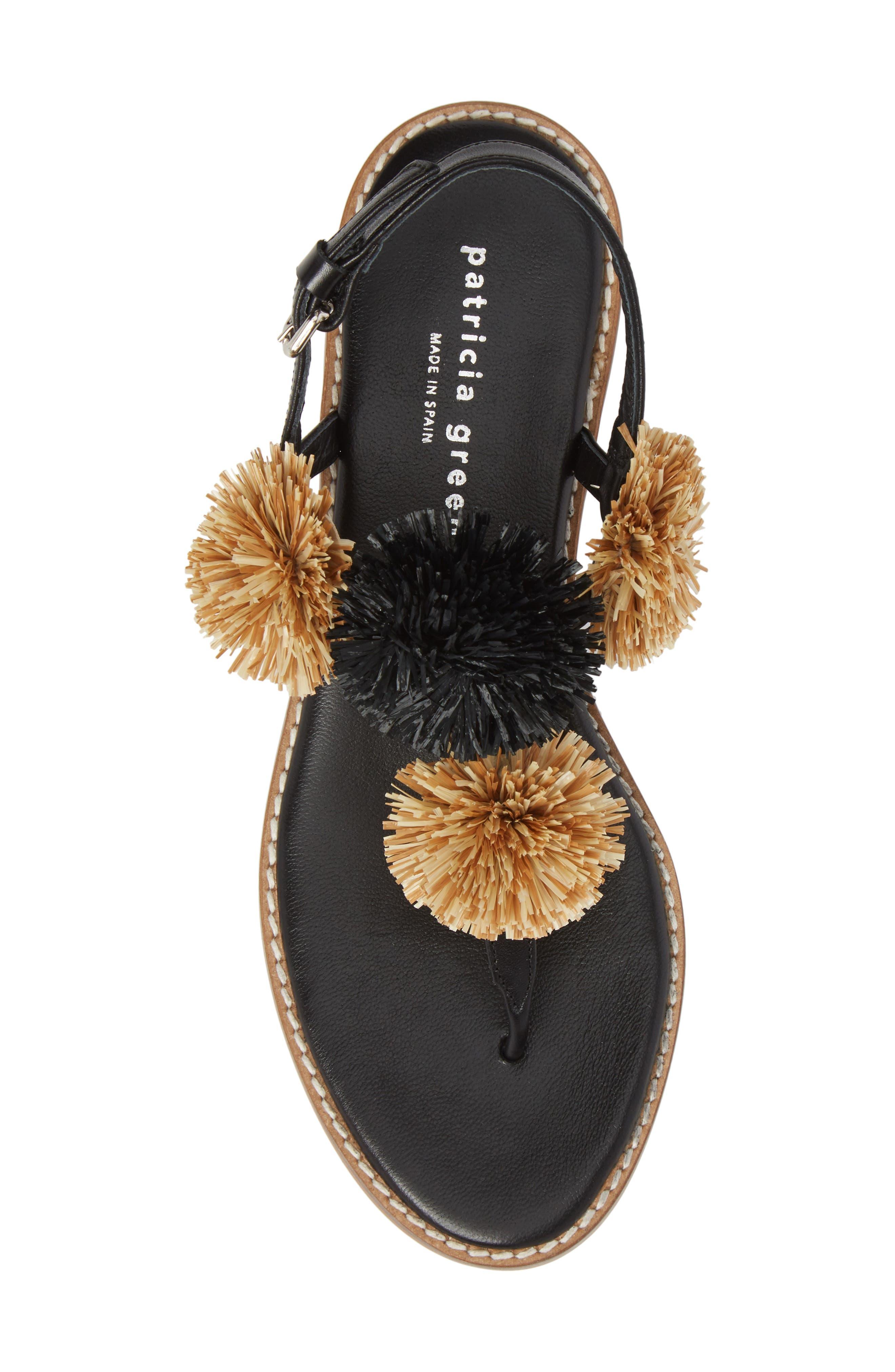 Pompom Thong Sandal,                             Alternate thumbnail 5, color,                             Black Leather