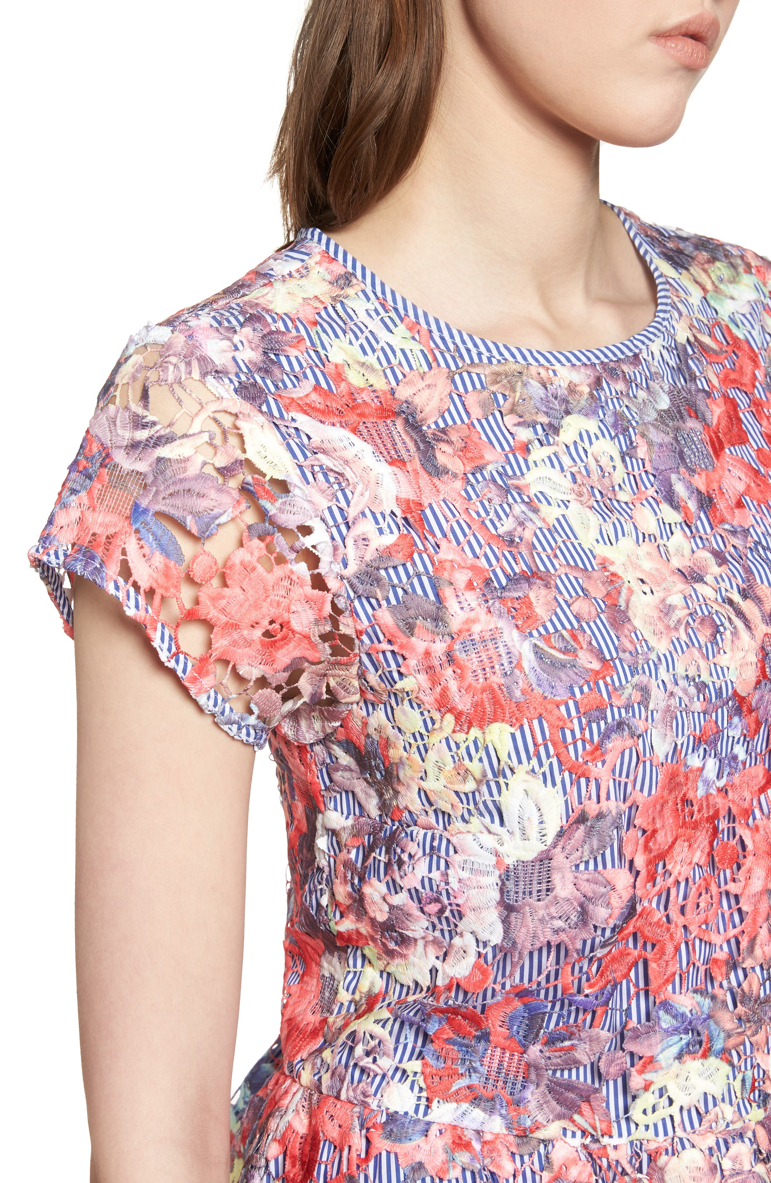Lace Overlay Stripe Peplum Top,                             Alternate thumbnail 4, color,                             Coral Multi Lace