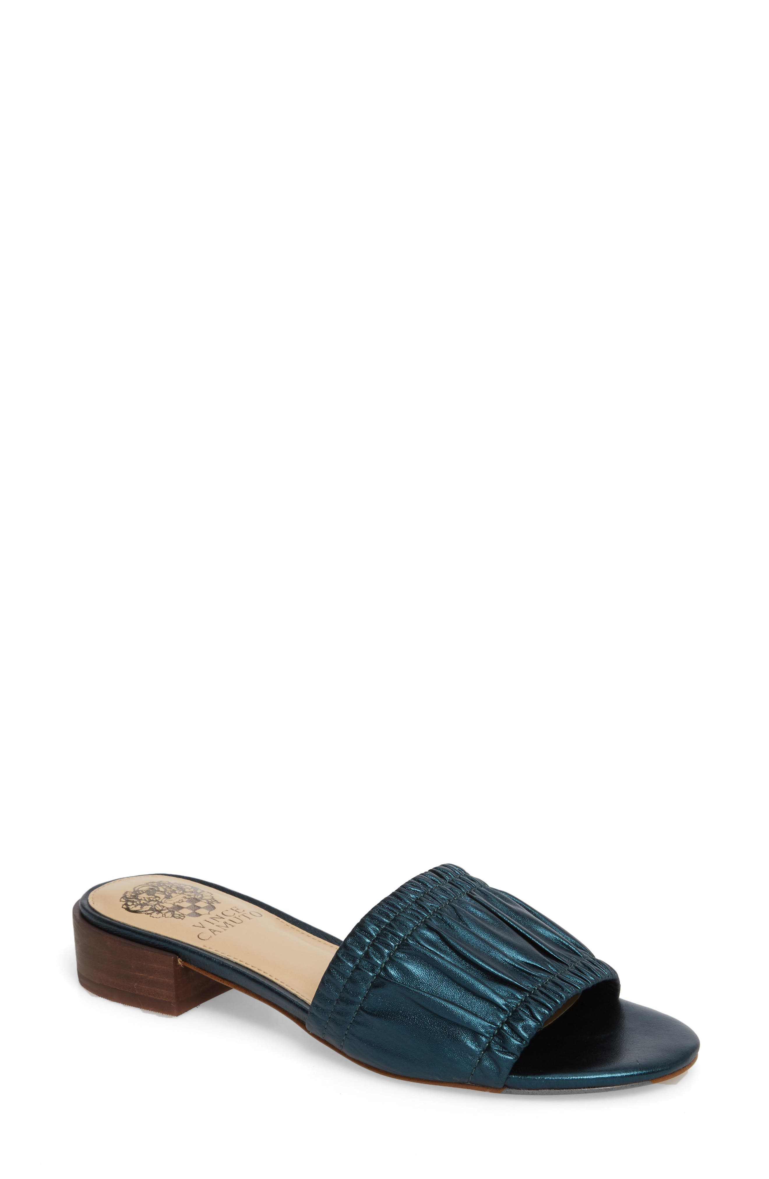 Nanita Pleated Slide Sandal,                             Main thumbnail 1, color,                             Metal Teal Fabric