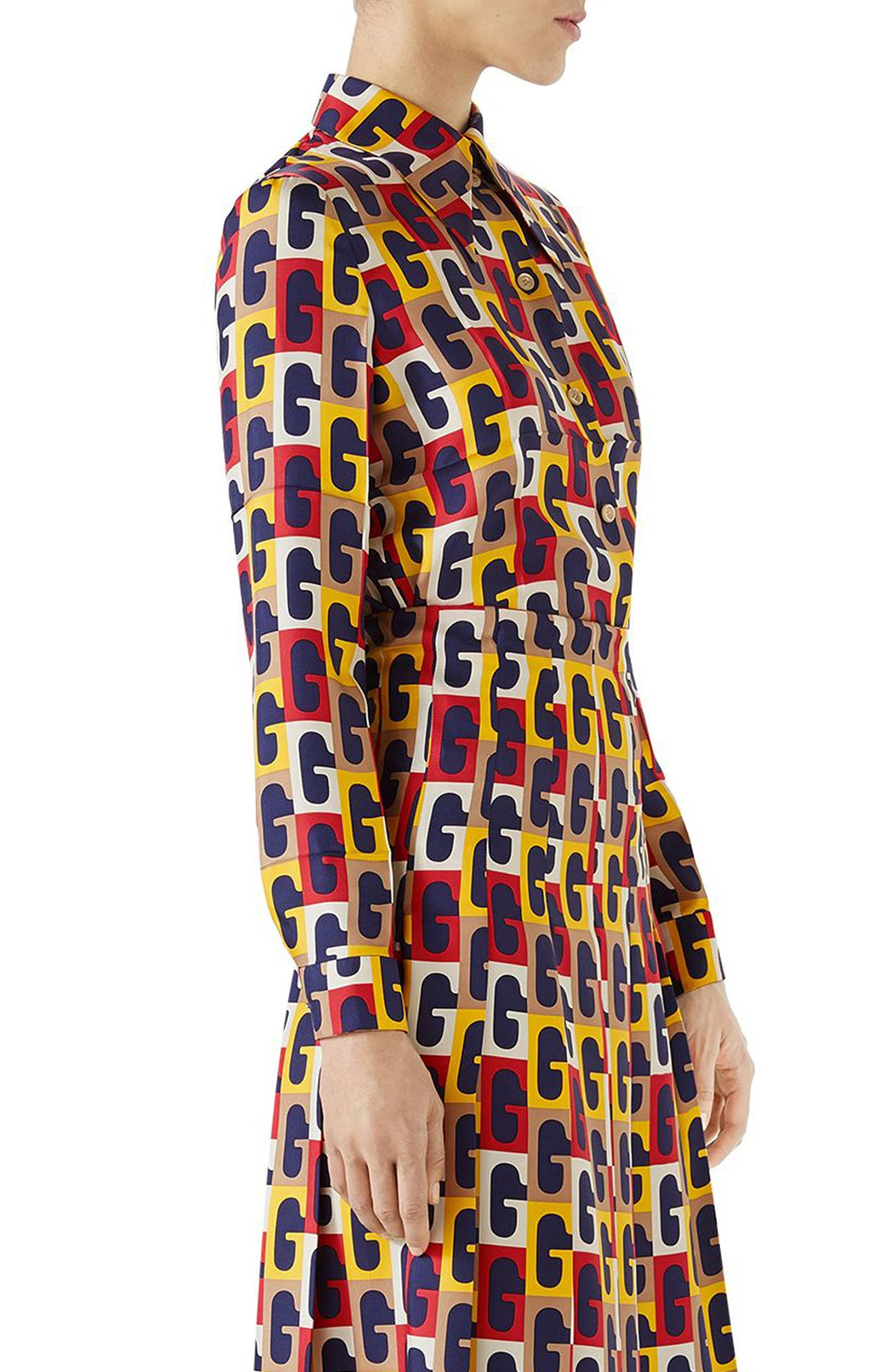 G-Sequence Print Silk Shirt,                             Alternate thumbnail 3, color,                             Ivory/ Yellow/ Red Print