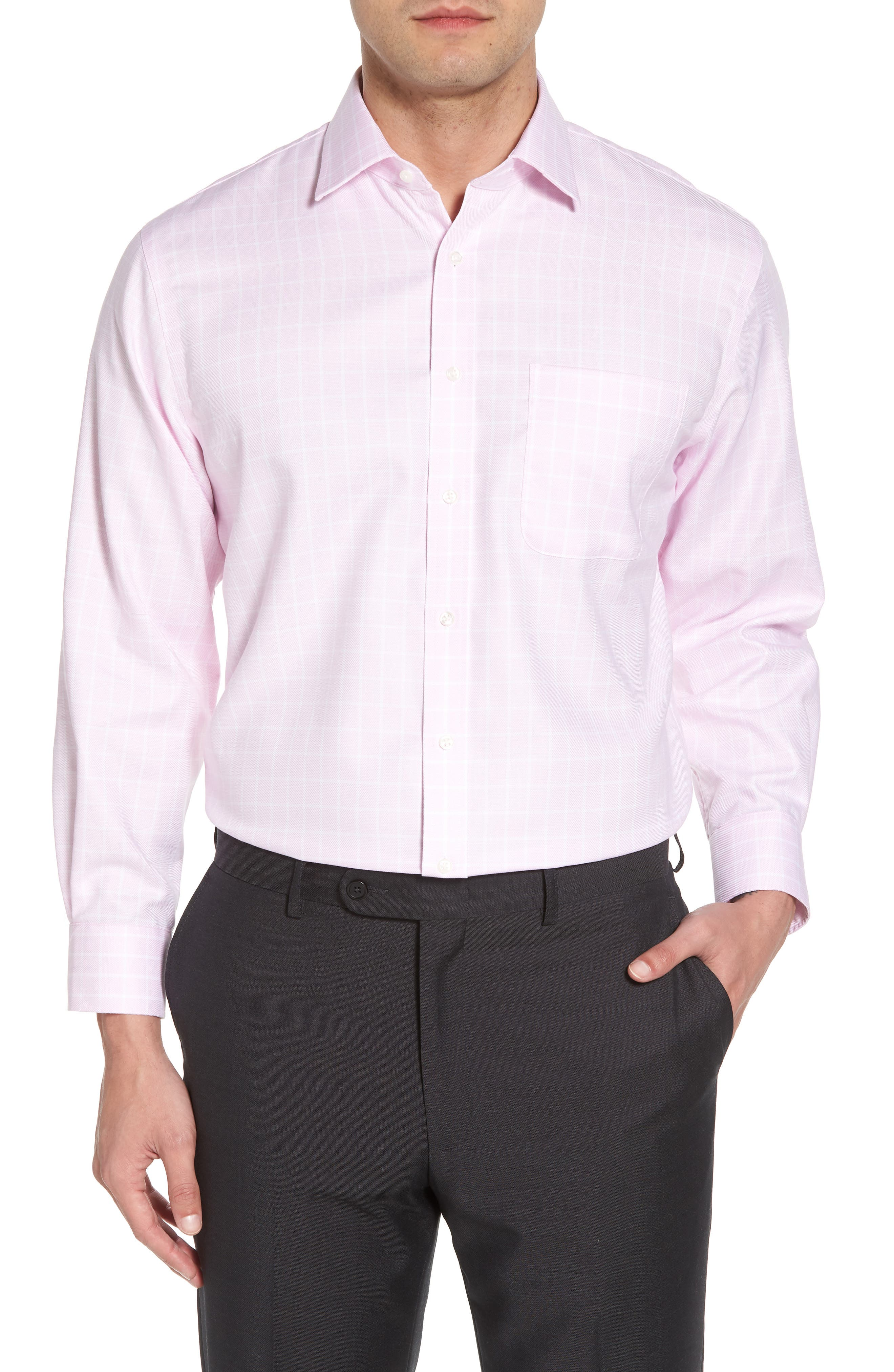 Traditional Fit Non-Iron Check Dress Shirt,                         Main,                         color, Pink Lavender