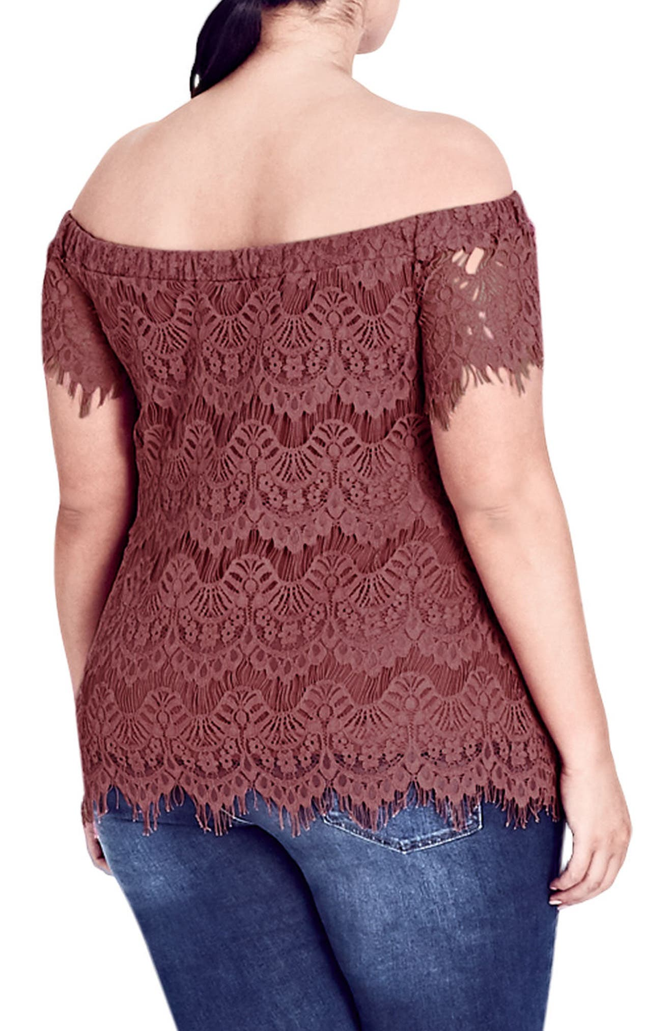 Lacy Off the Shoulder Top,                             Alternate thumbnail 2, color,                             Dusty Rose