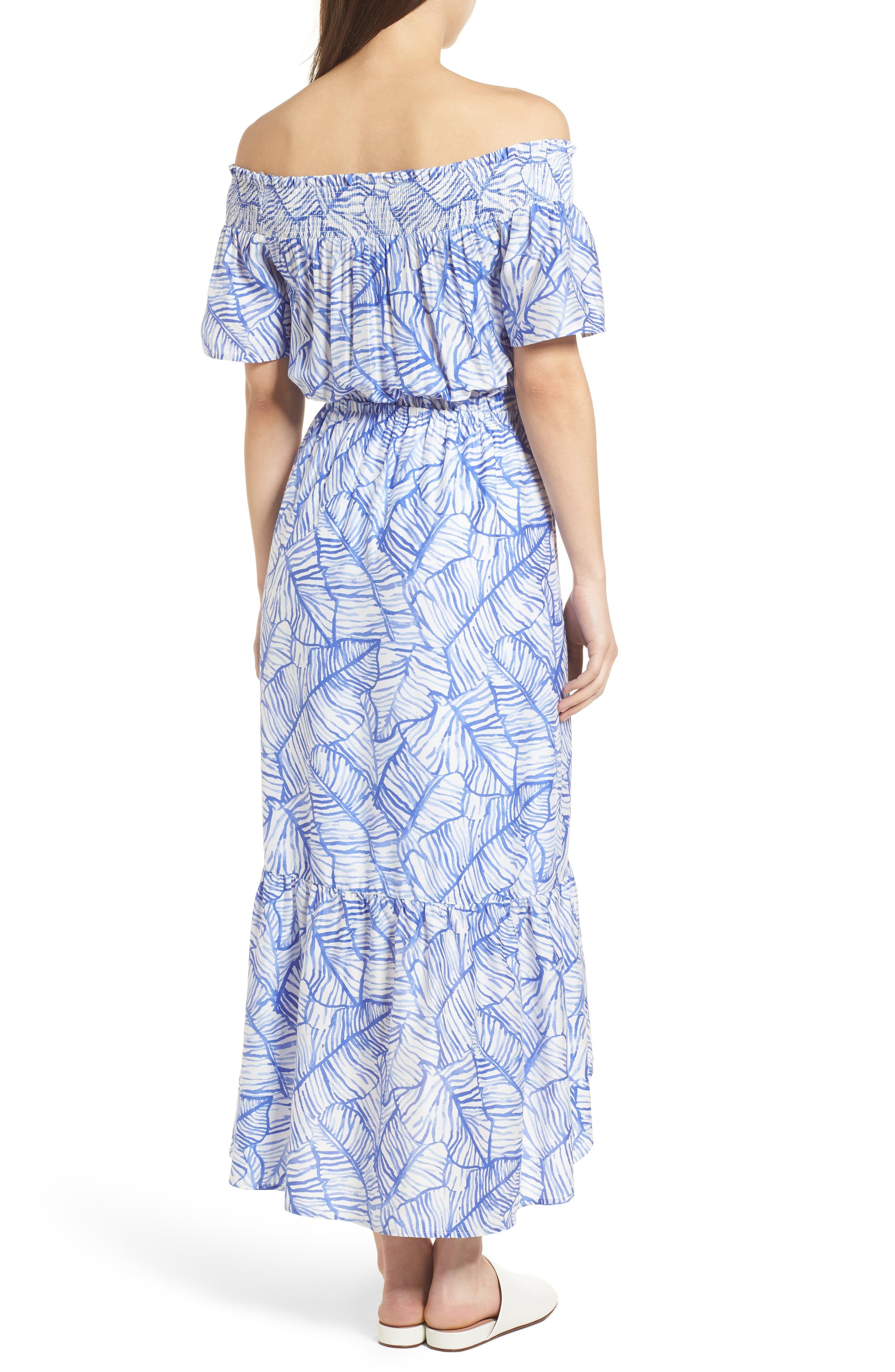 Banana Leaf High/Low Maxi Dress,                             Alternate thumbnail 2, color,                             Marlin