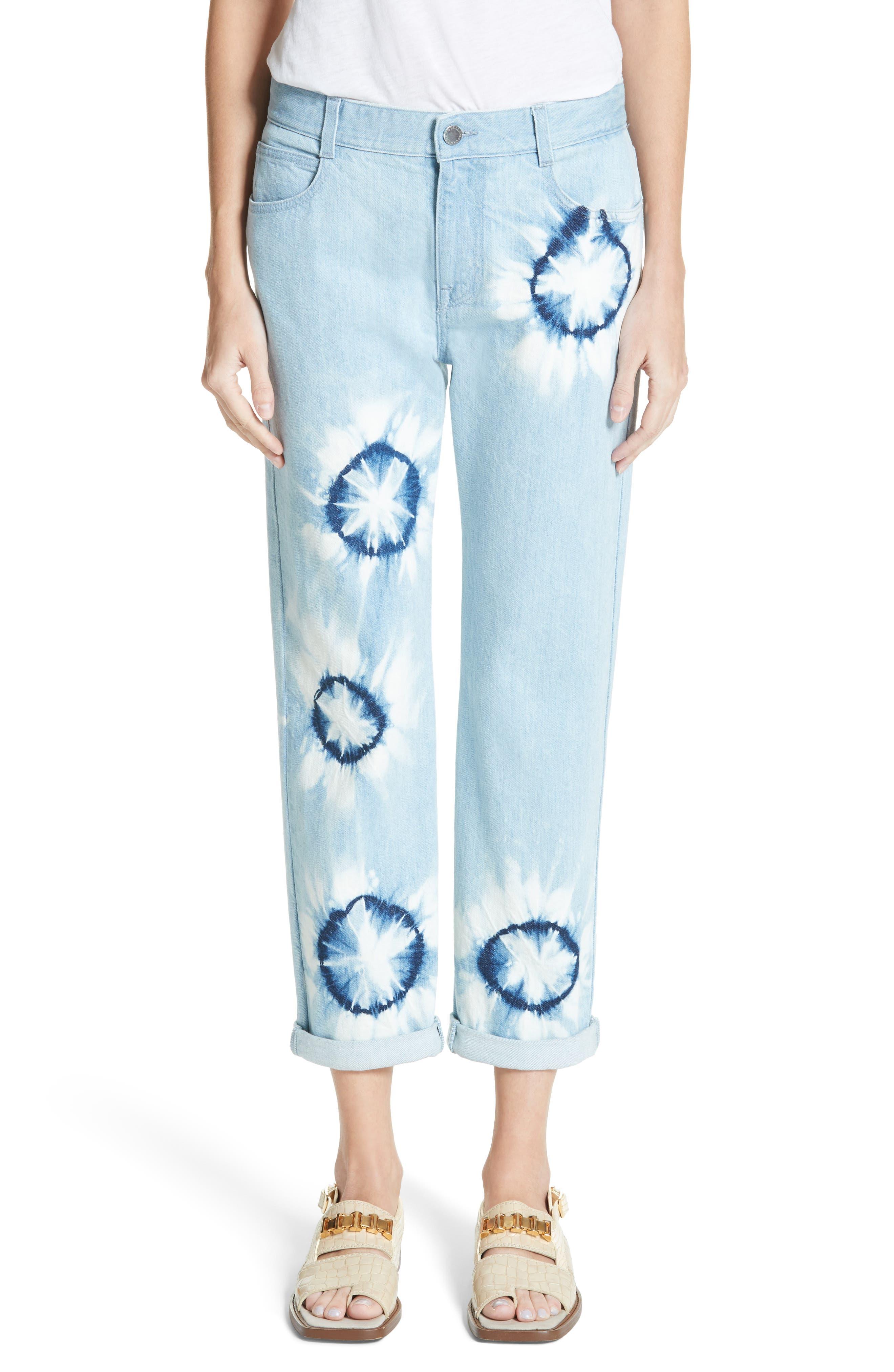 Tie Dye Boyfriend Jeans,                         Main,                         color, Light Blue