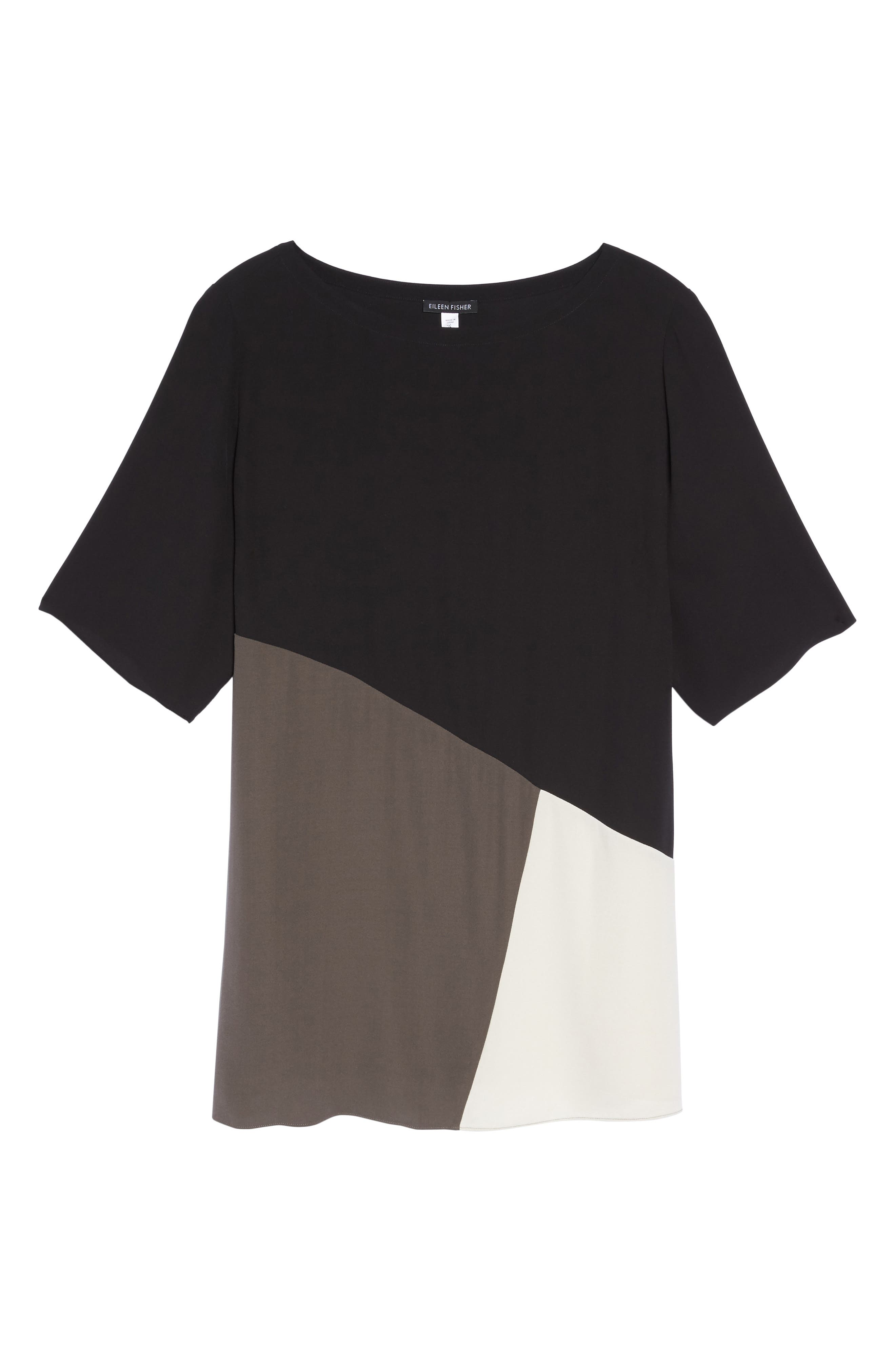 Alternate Image 6  - Eileen Fisher Colorblock Silk Top (Plus Size)