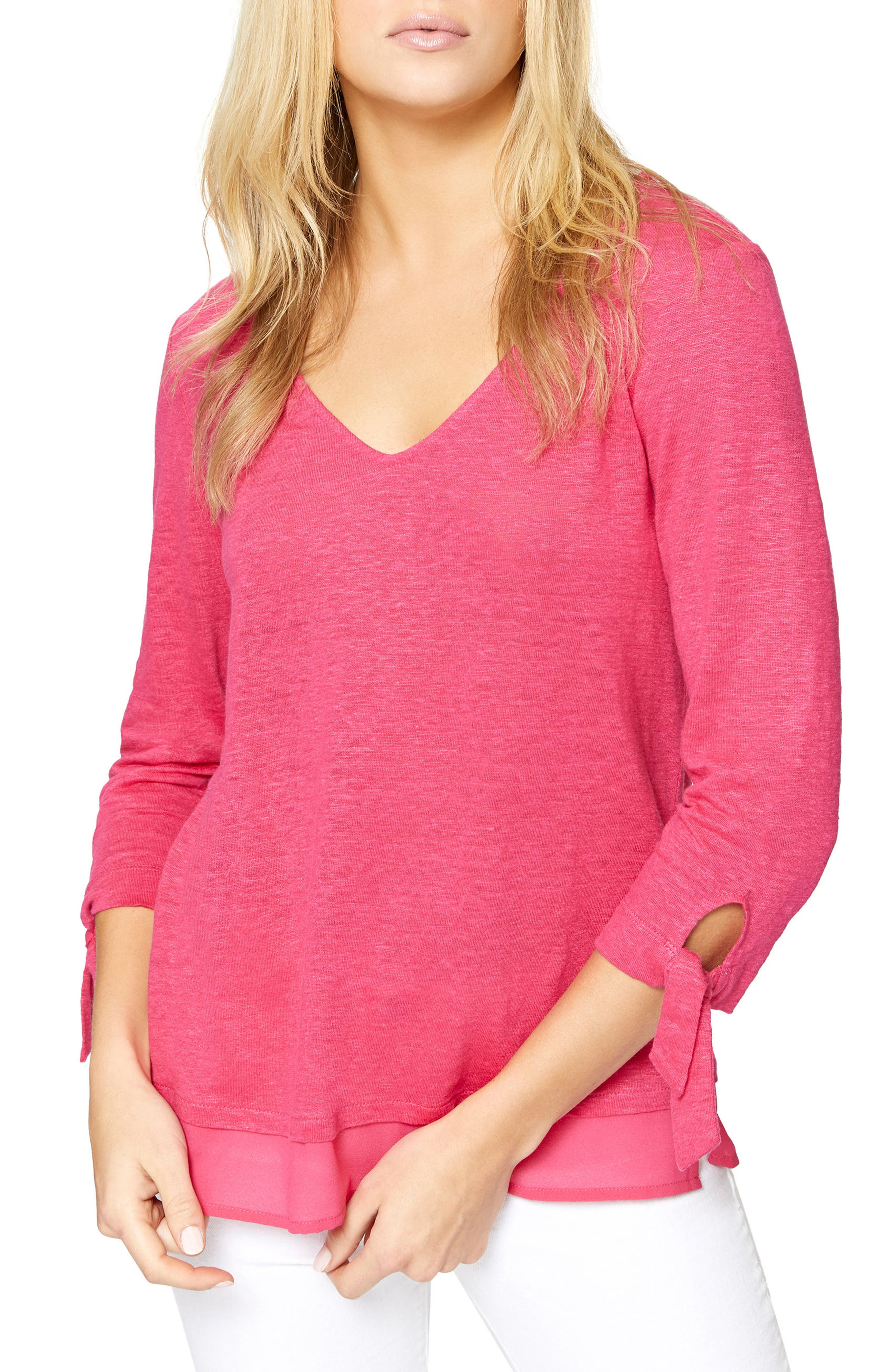 Sylvie Tiered Hem Linen Tee,                         Main,                         color, Camellia