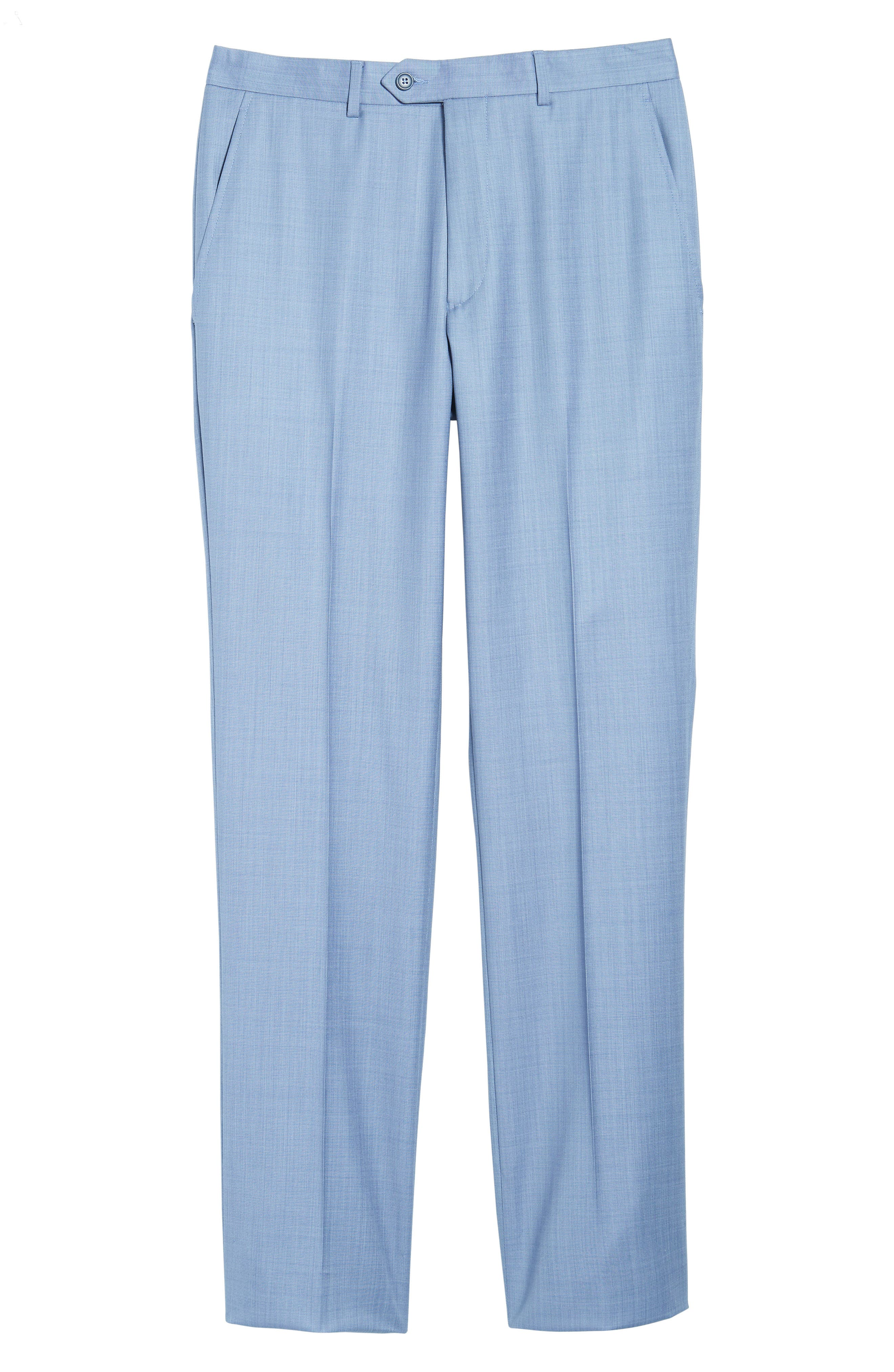 Flat Front Solid Wool Trousers,                             Alternate thumbnail 6, color,                             Soft Blue