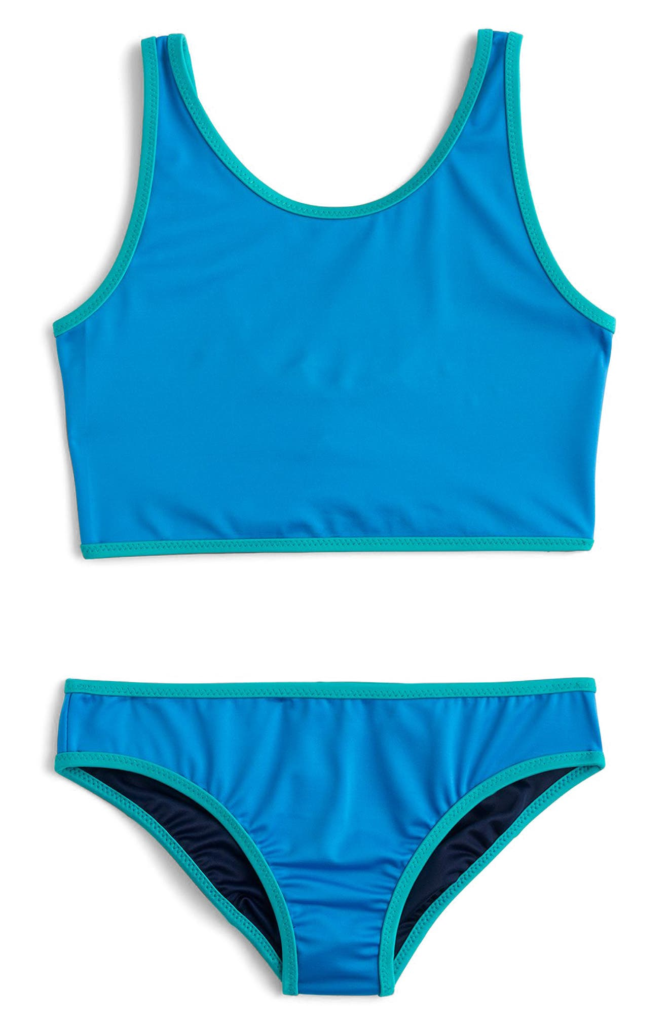 Alternate Image 1 Selected - crewcuts by J.Crew Reversible Two-Piece Swimsuit (Toddler Girls, Little Girls & Big Girls)