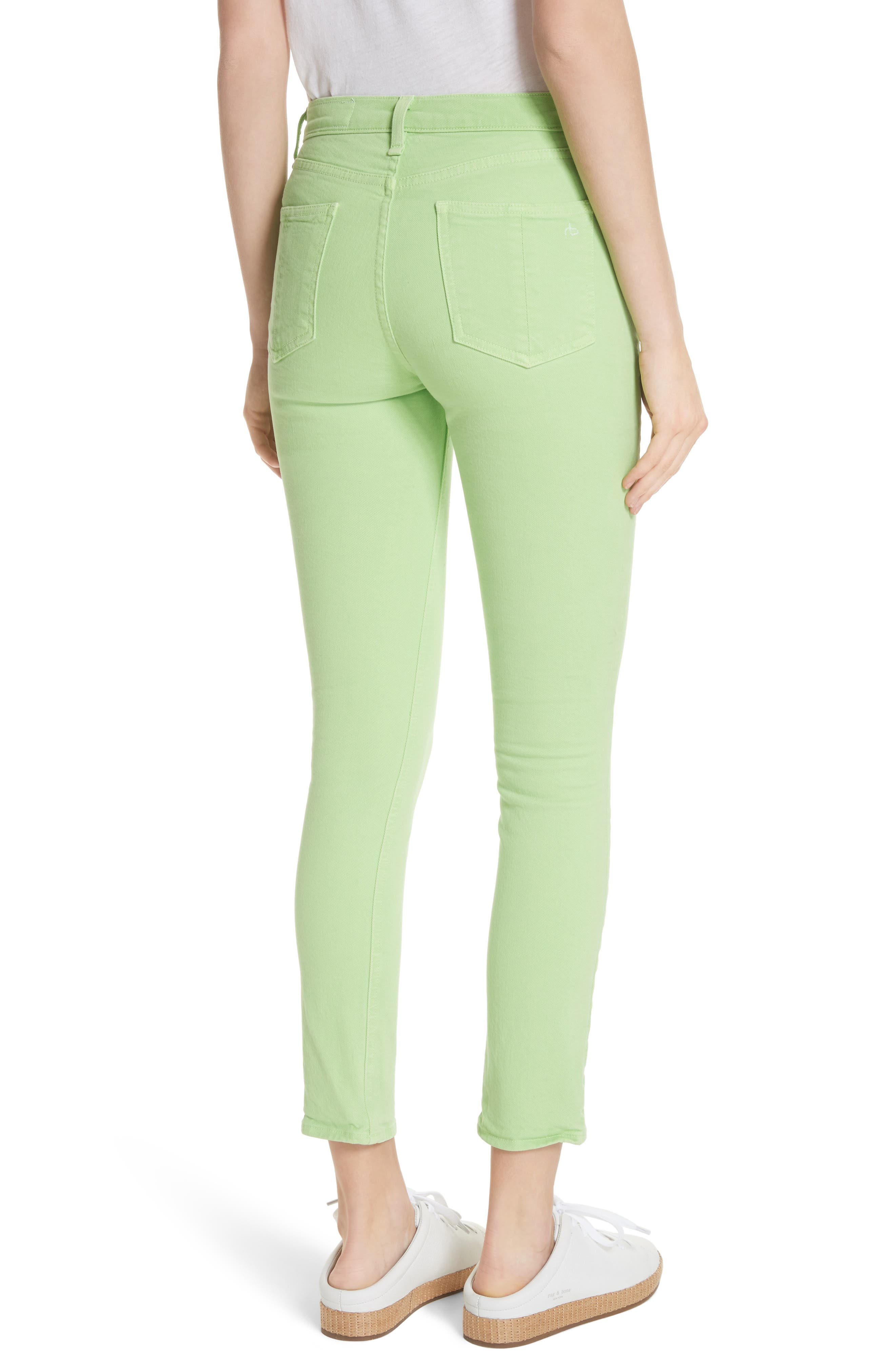 High Rise Skinny Jeans,                             Alternate thumbnail 2, color,                             Lime