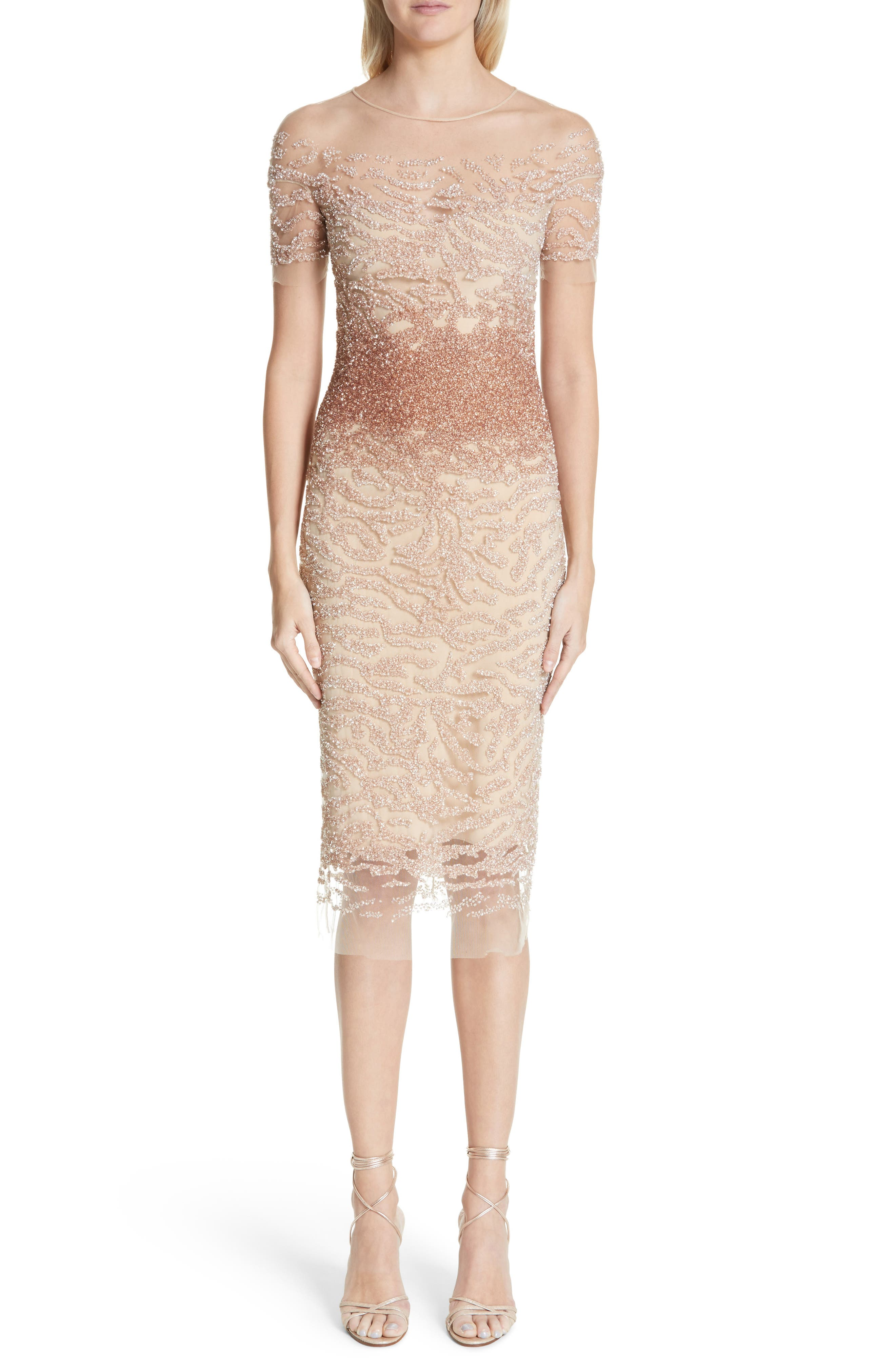 PAMELLA ROLAND BEADED ILLUSION DRESS