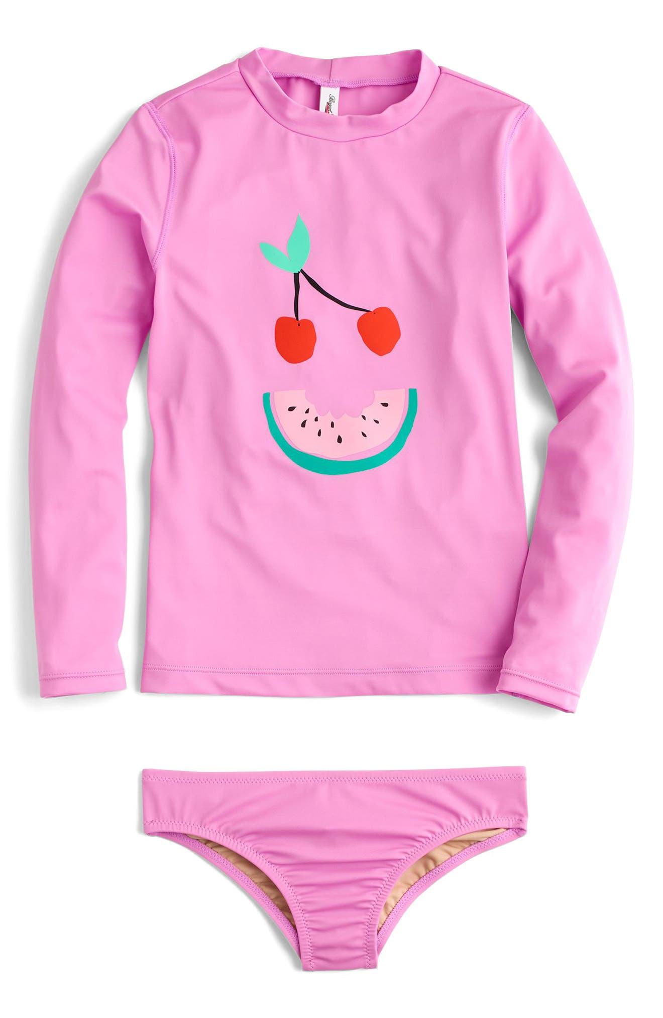Fruit Face Two-Piece Rashguard Swimsuit,                             Main thumbnail 1, color,                             Neon Peony