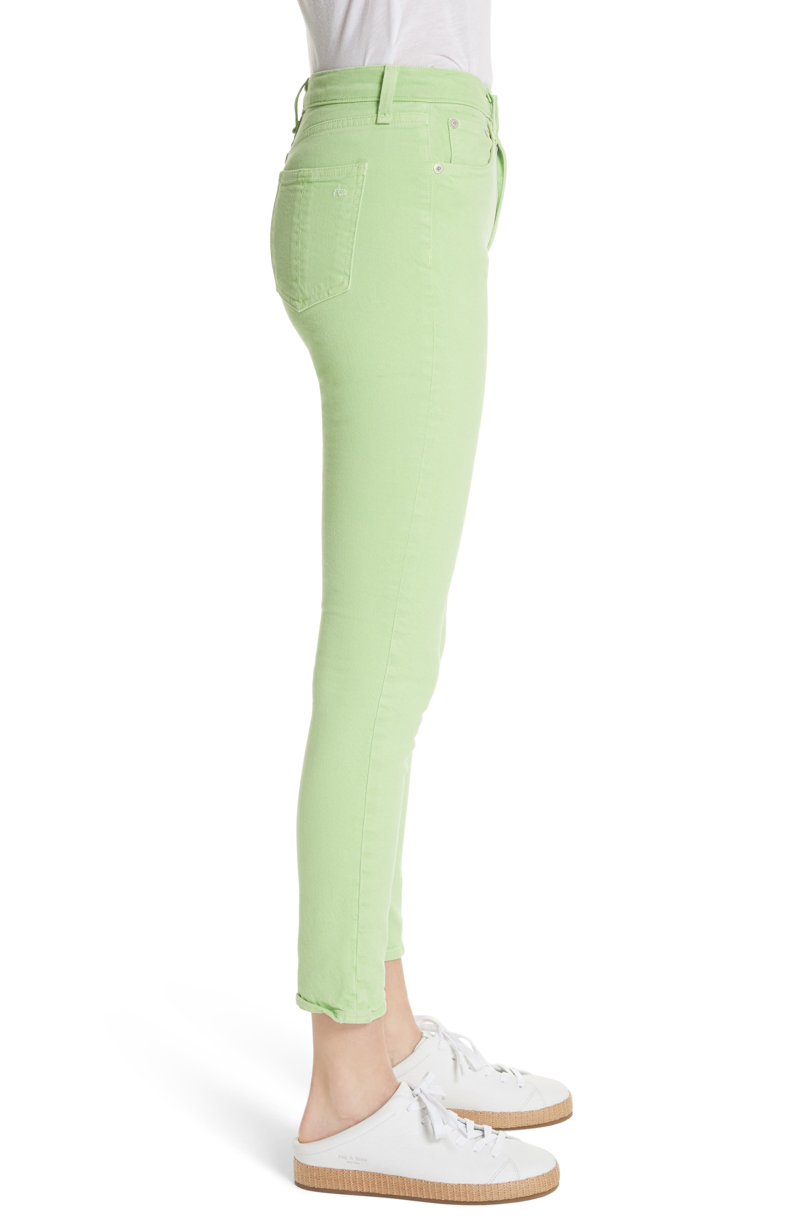 High Rise Skinny Jeans,                             Alternate thumbnail 3, color,                             Lime