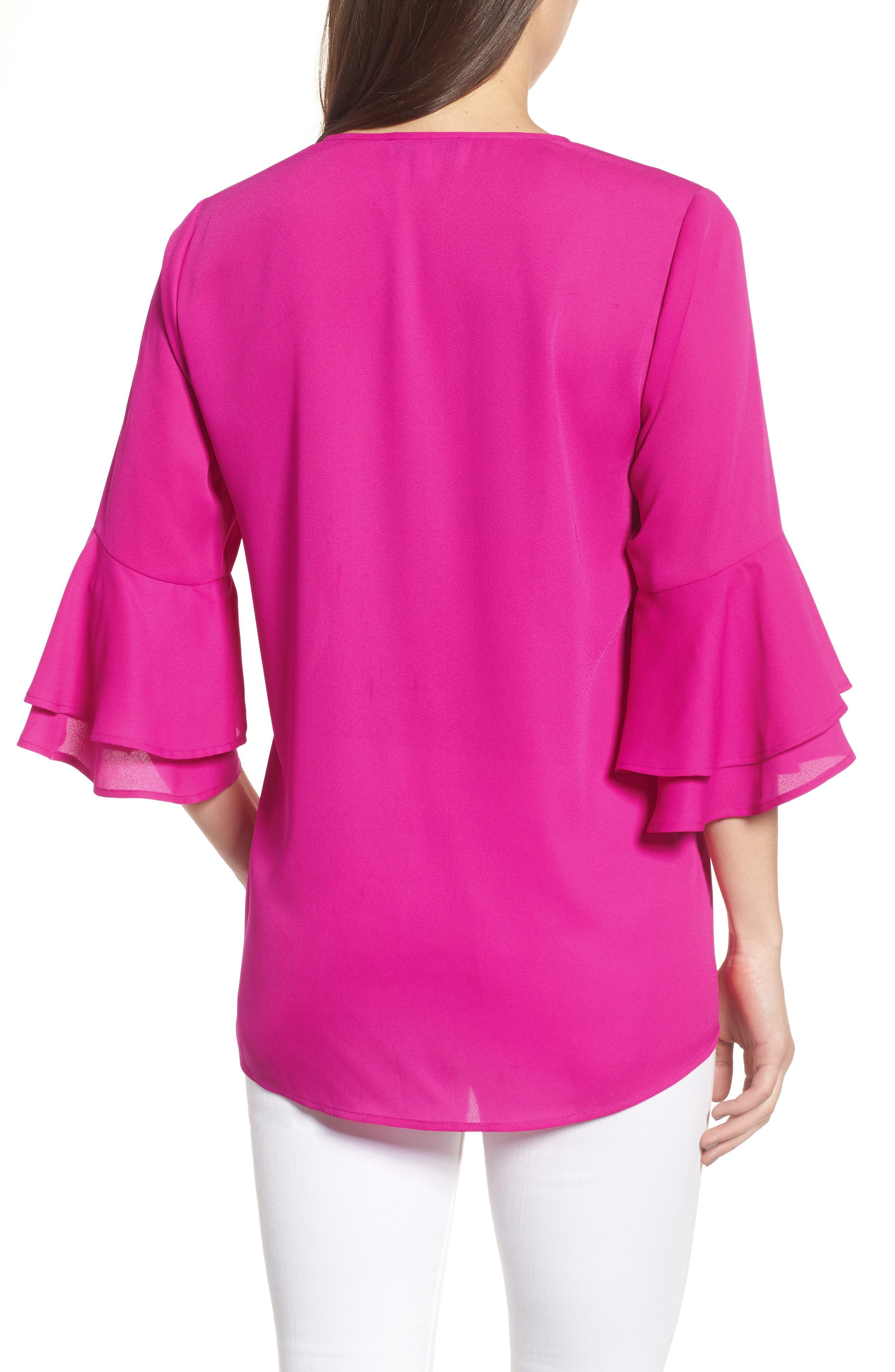Ruffle Sleeve V-Neck Blouse,                             Alternate thumbnail 2, color,                             686-Pink Nouveau