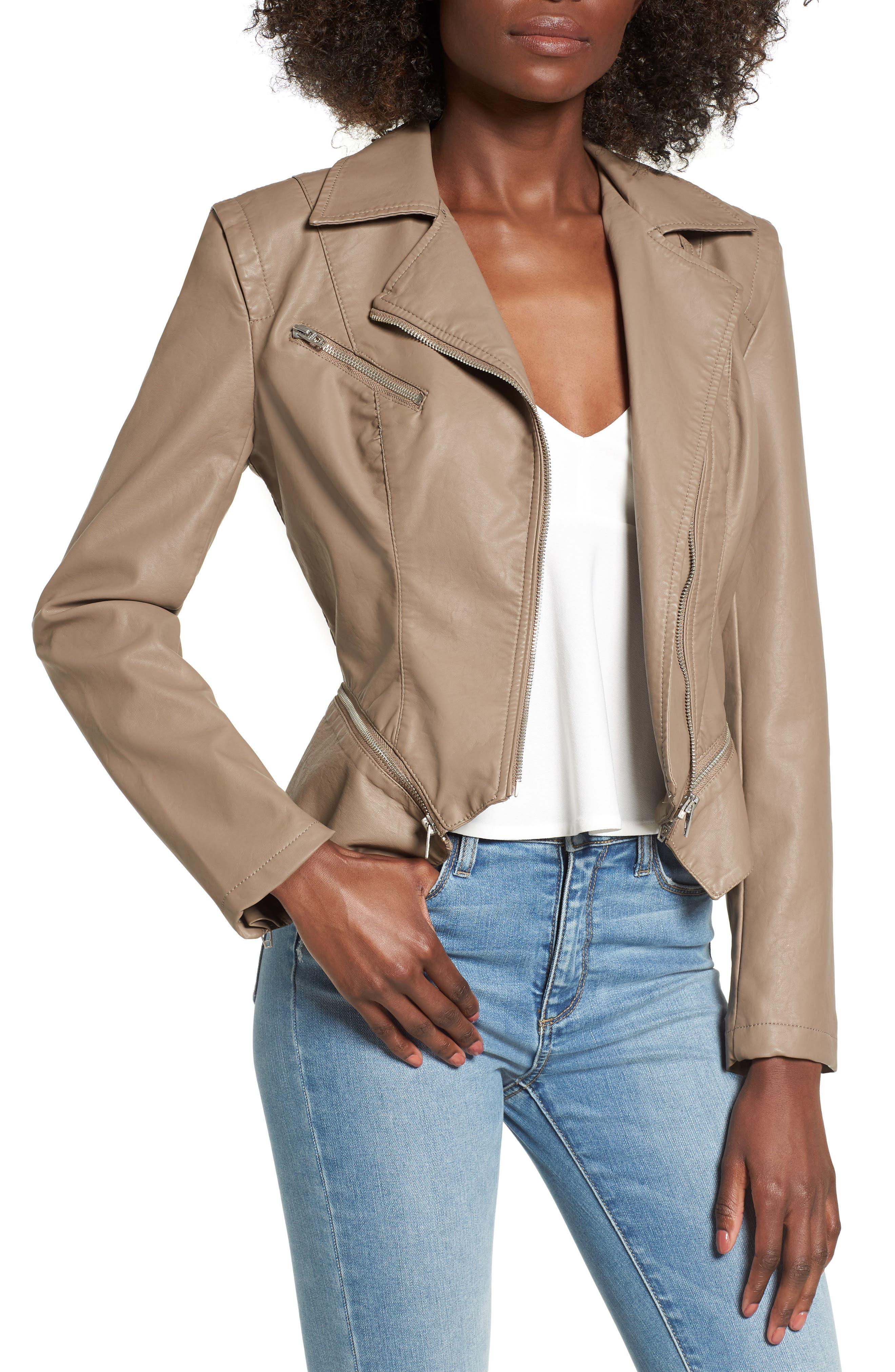 Faux Leather Moto Jacket,                         Main,                         color, Sand Stoner