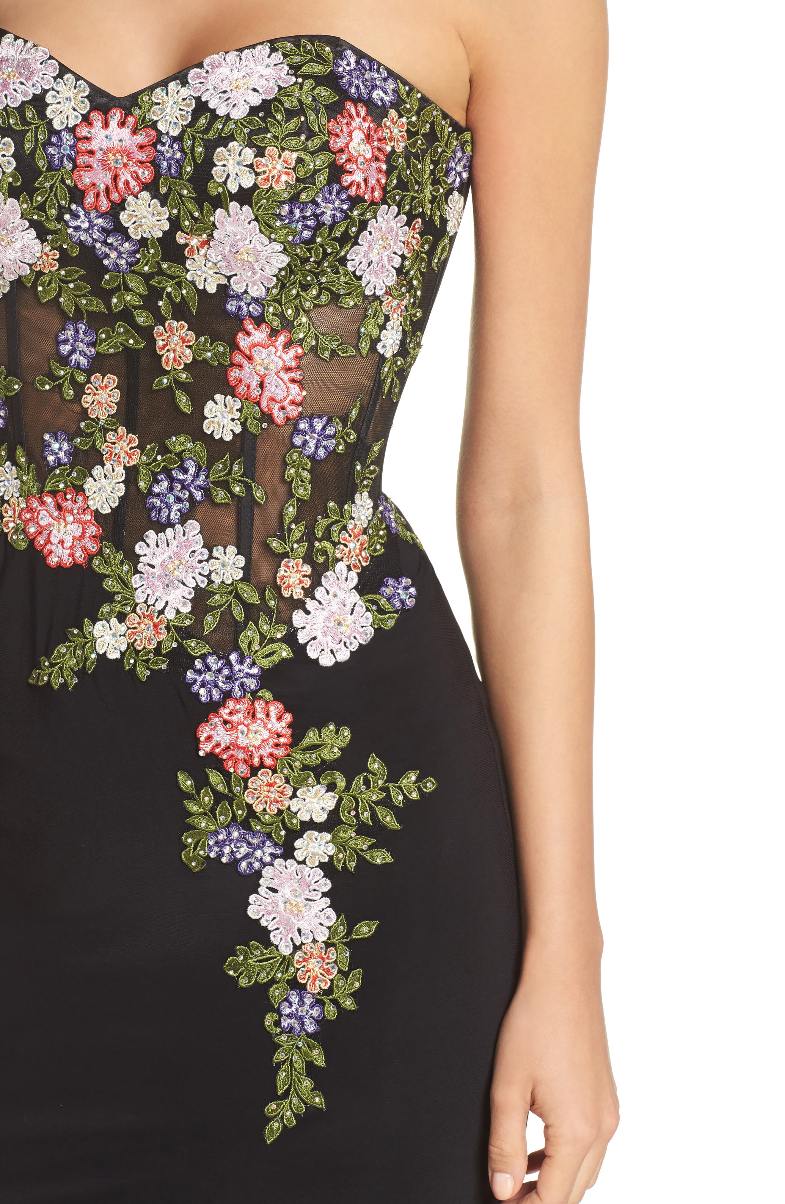 Embroidered Strapless Gown,                             Alternate thumbnail 4, color,                             Black/ Multi