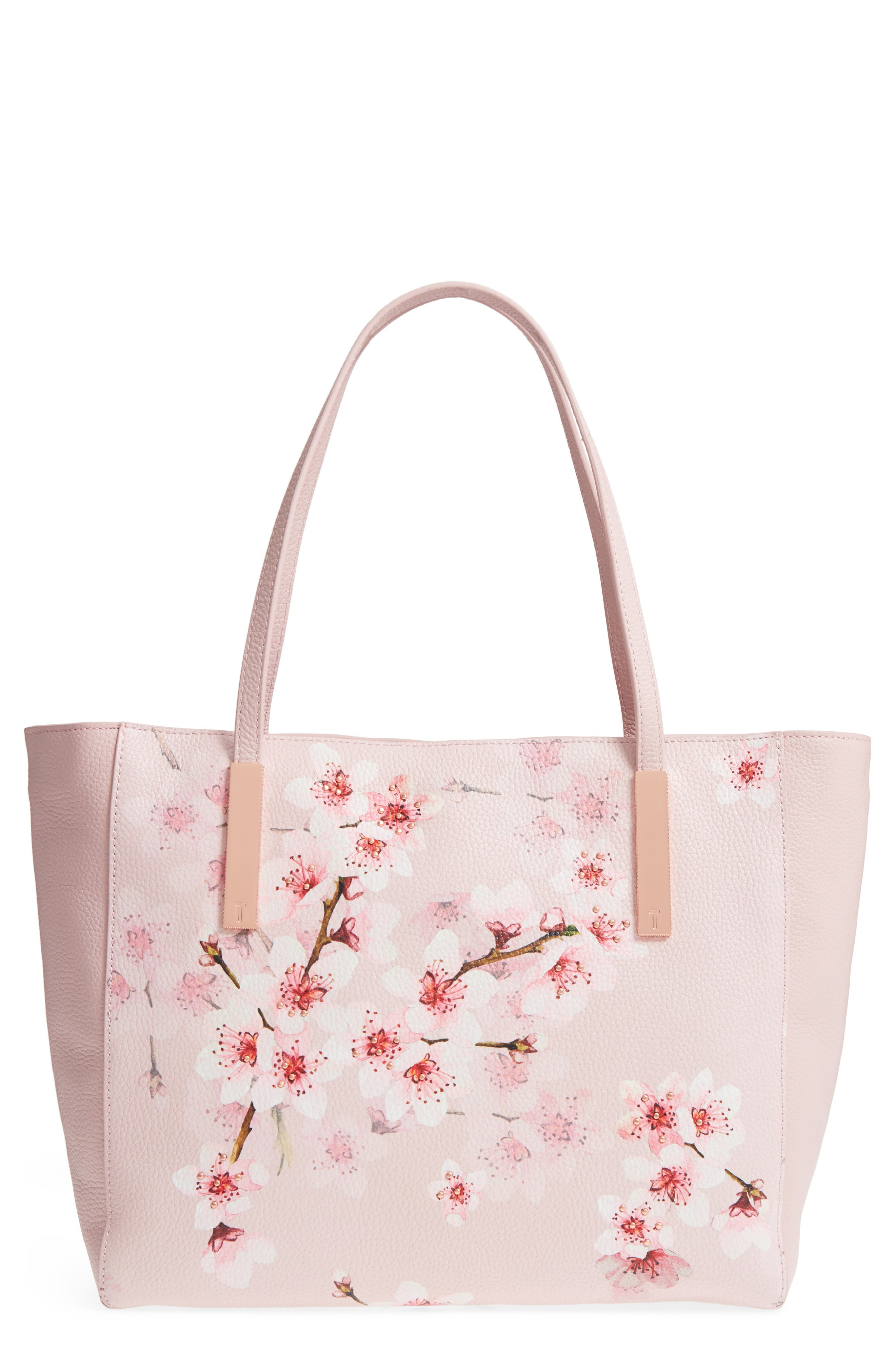 Soft Blossom Leather Shopper,                             Main thumbnail 1, color,                             Light Pink