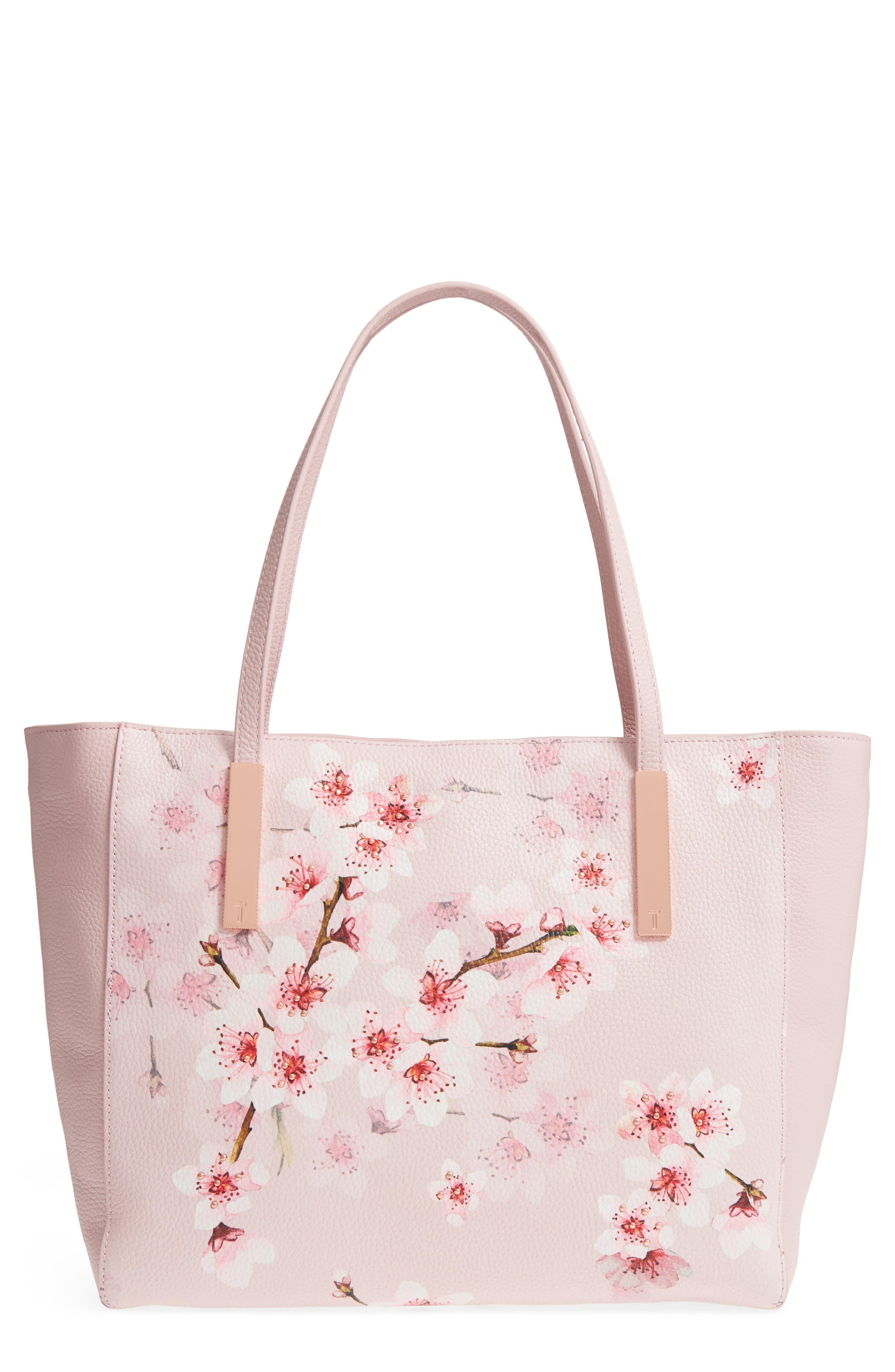 Soft Blossom Leather Shopper,                         Main,                         color, Light Pink