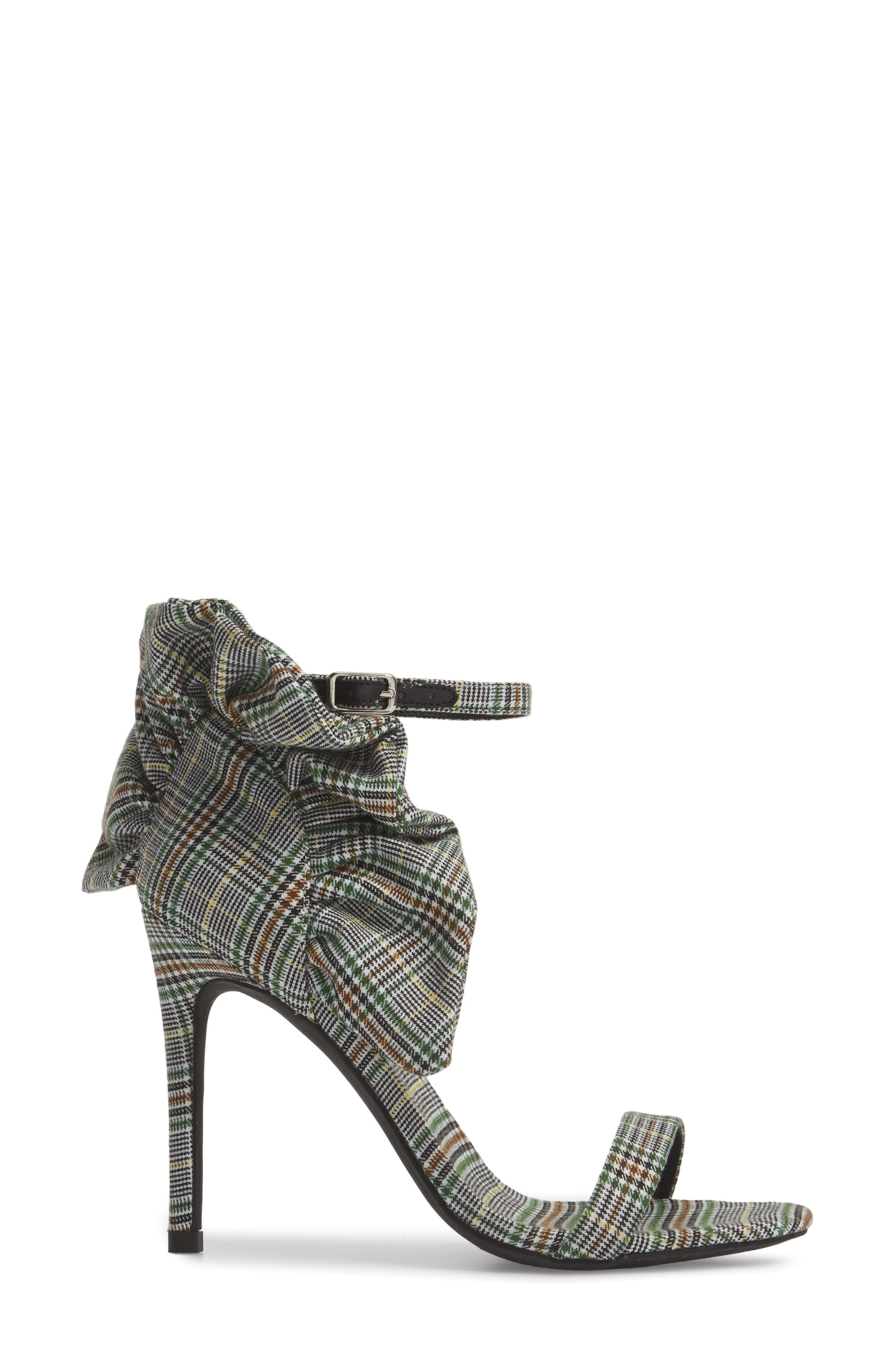 Cheshire Ruffle Sandal,                             Alternate thumbnail 6, color,                             Black/ White/ Green Fabric