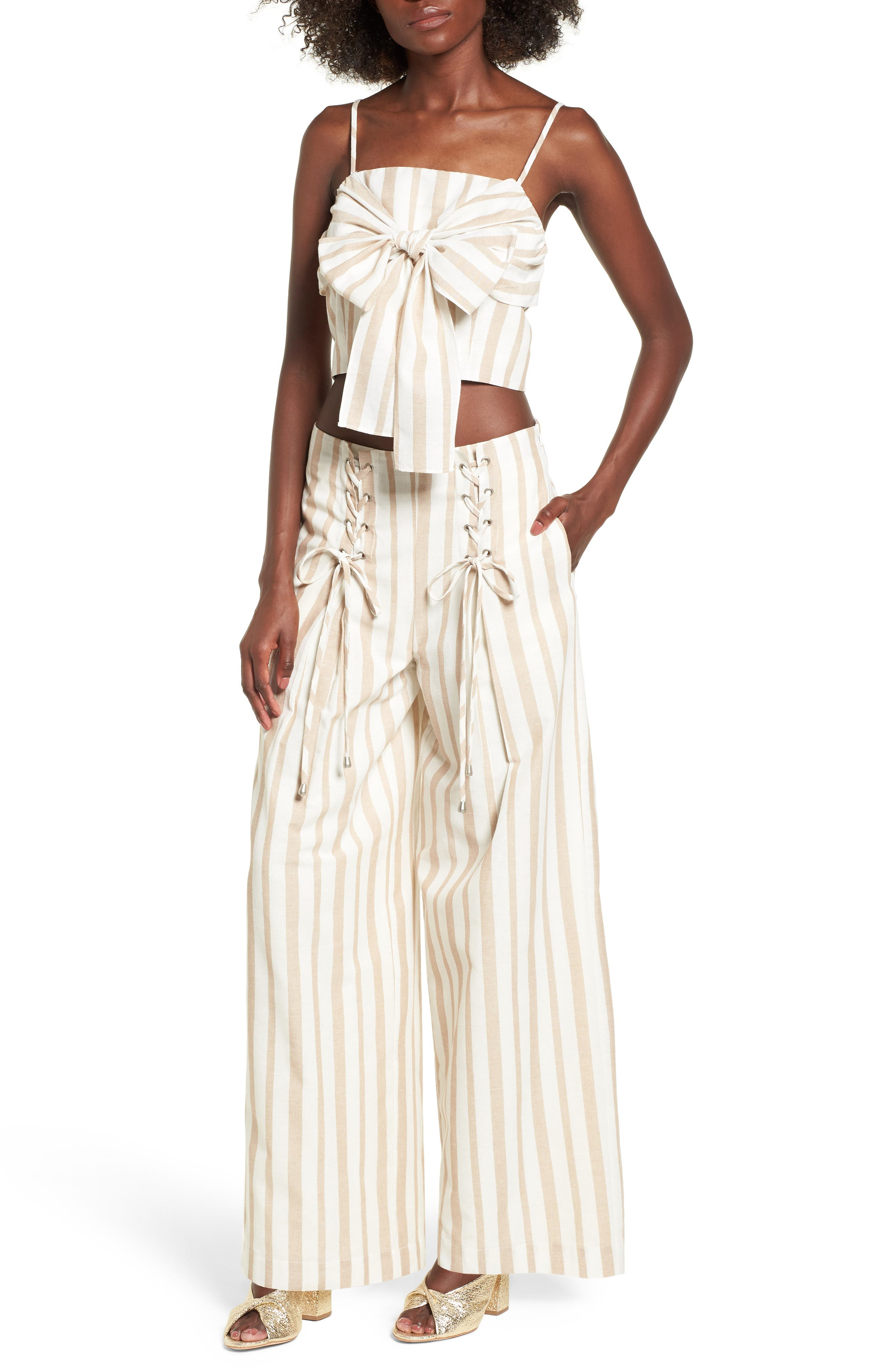 Chriselle x J.O.A. Lace-Up High Waist Wide Leg Pants,                             Alternate thumbnail 6, color,                             Sand Stripe