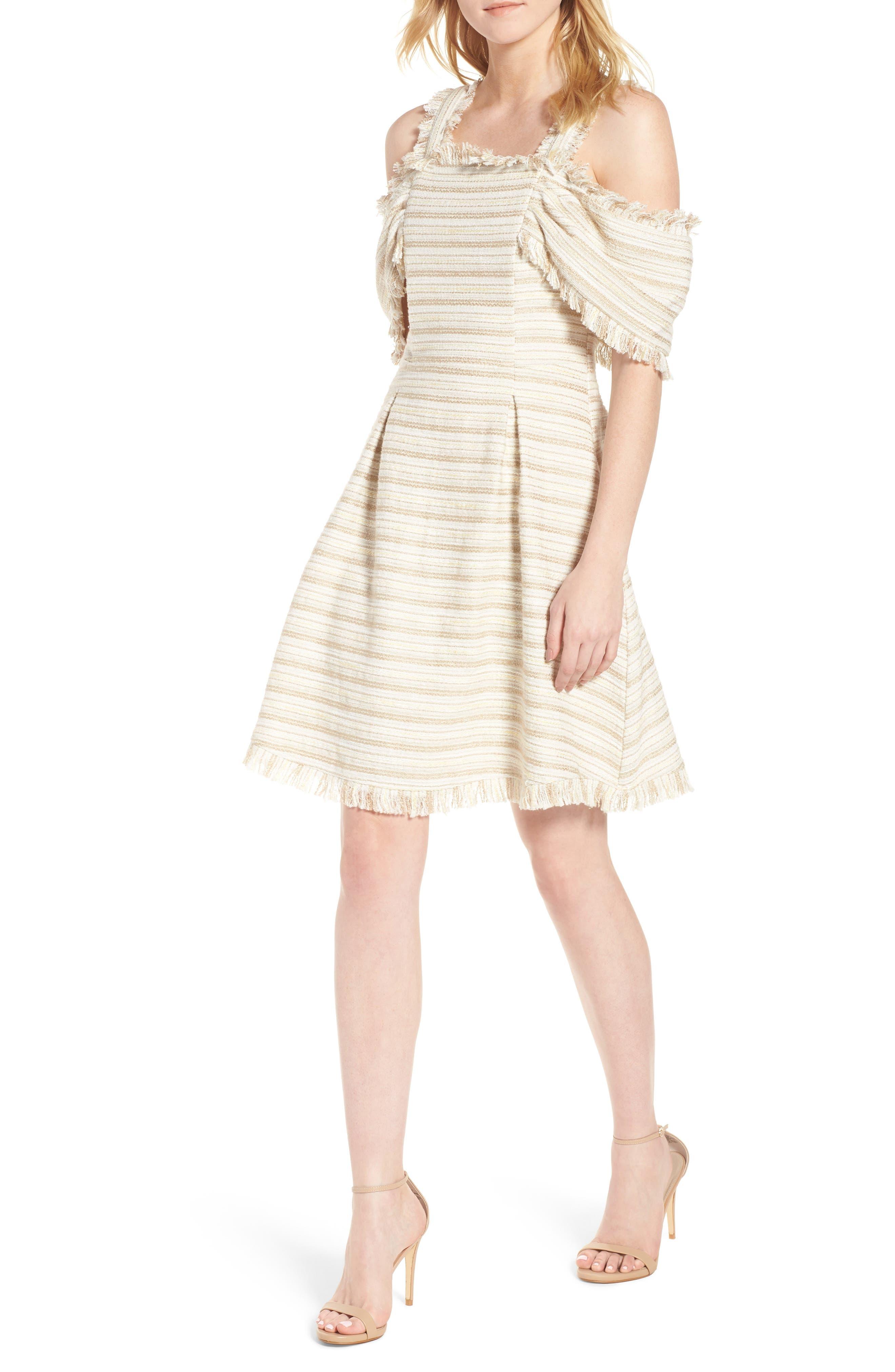 Bliss Cold Shoulder Fit & Flare Dress,                         Main,                         color, Maize