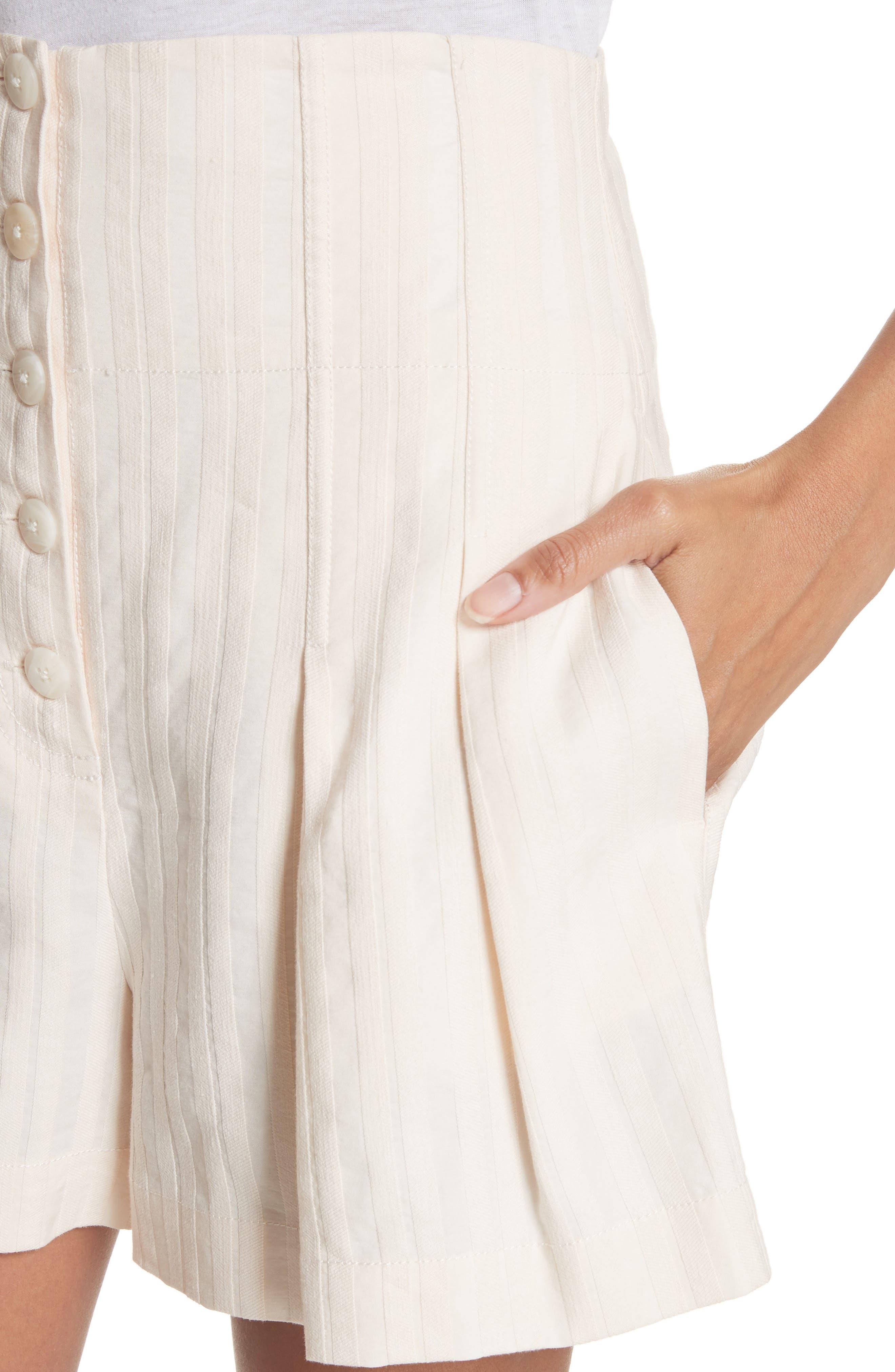 Textured Stripe Shorts,                             Alternate thumbnail 4, color,                             Creme Brulee