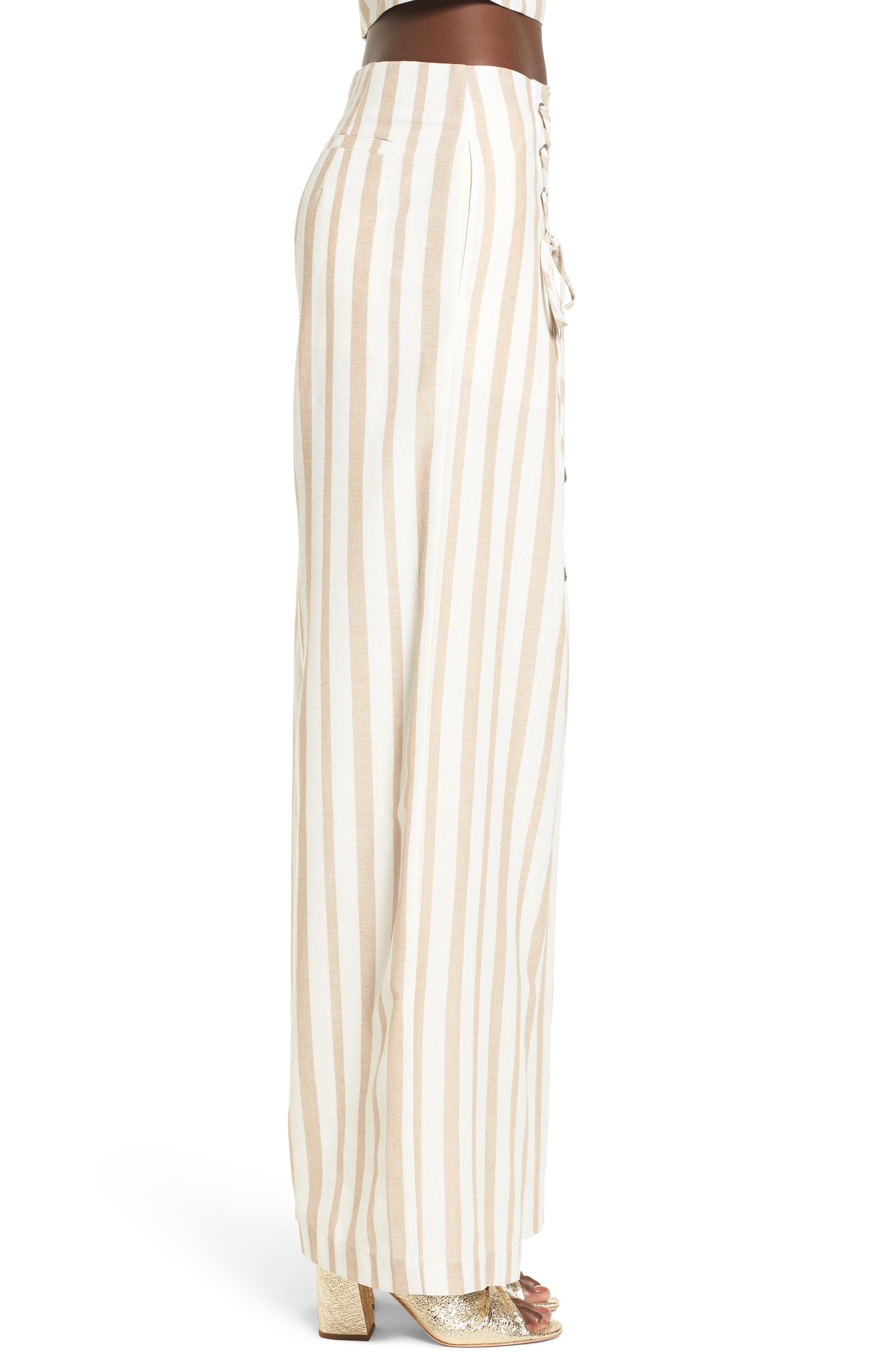 Chriselle x J.O.A. Lace-Up High Waist Wide Leg Pants,                             Alternate thumbnail 8, color,                             Sand Stripe