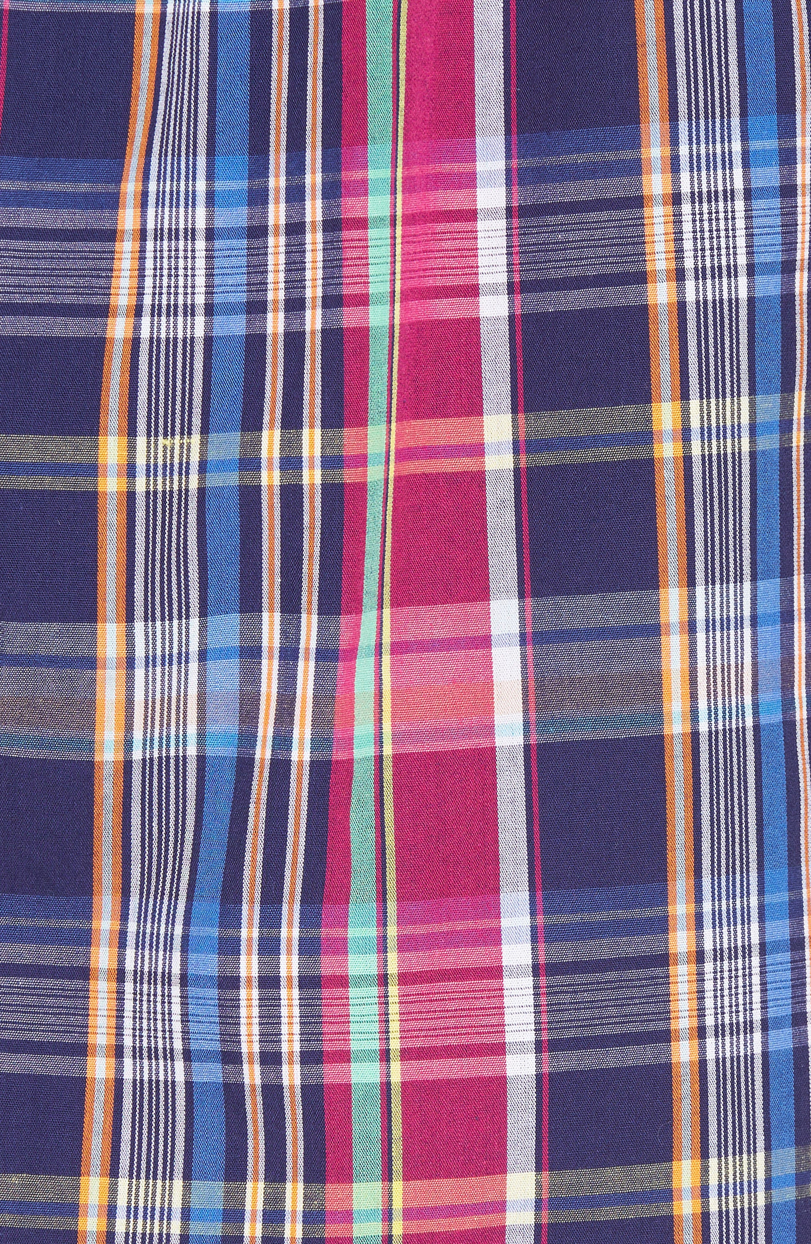 Woven Cotton Boxers,                             Alternate thumbnail 5, color,                             Collin Plaid/ Bright Pink