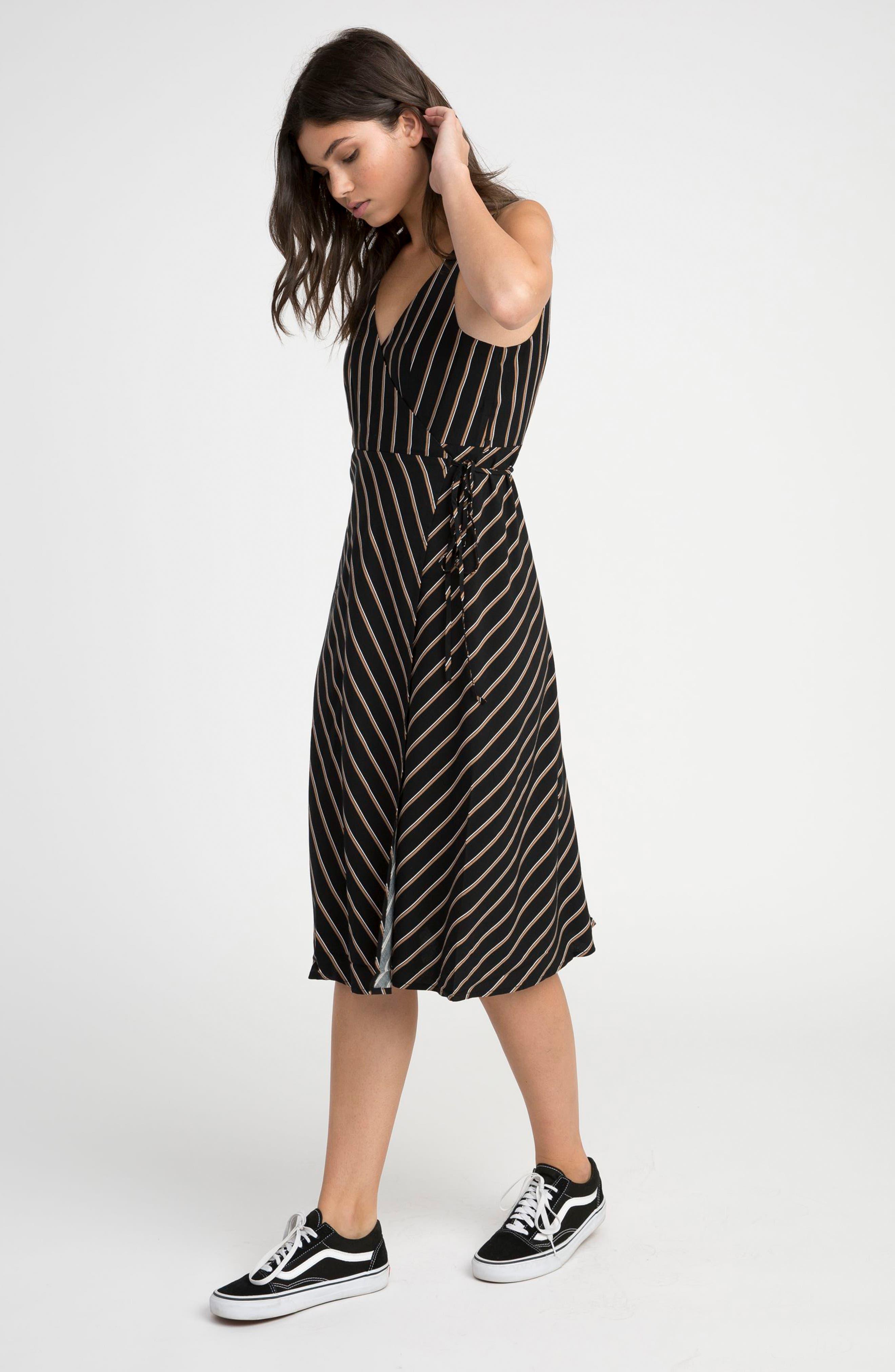 Dat Stripe Wrap Dress,                             Alternate thumbnail 2, color,                             Black