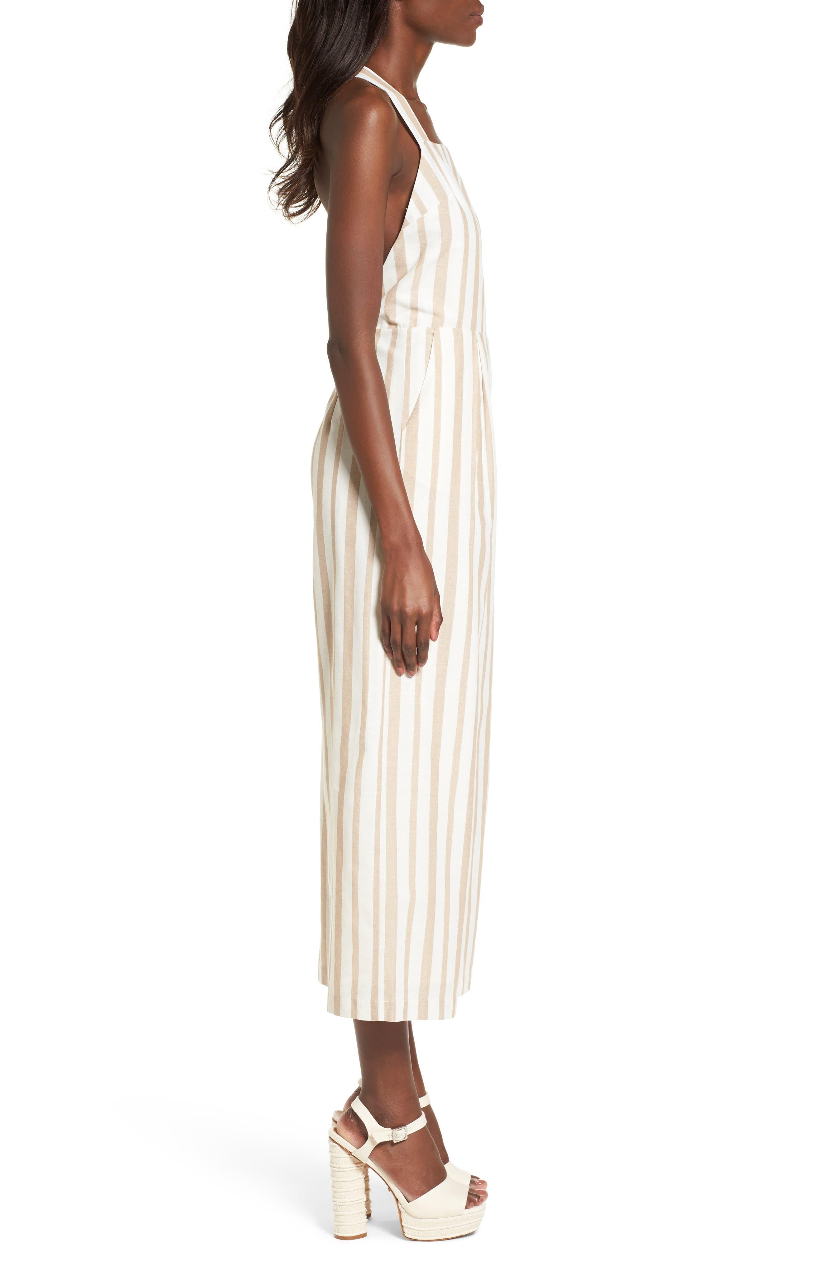 Chriselle x J.O.A. Wide Leg Jumpsuit,                             Alternate thumbnail 5, color,                             Sand Stripe