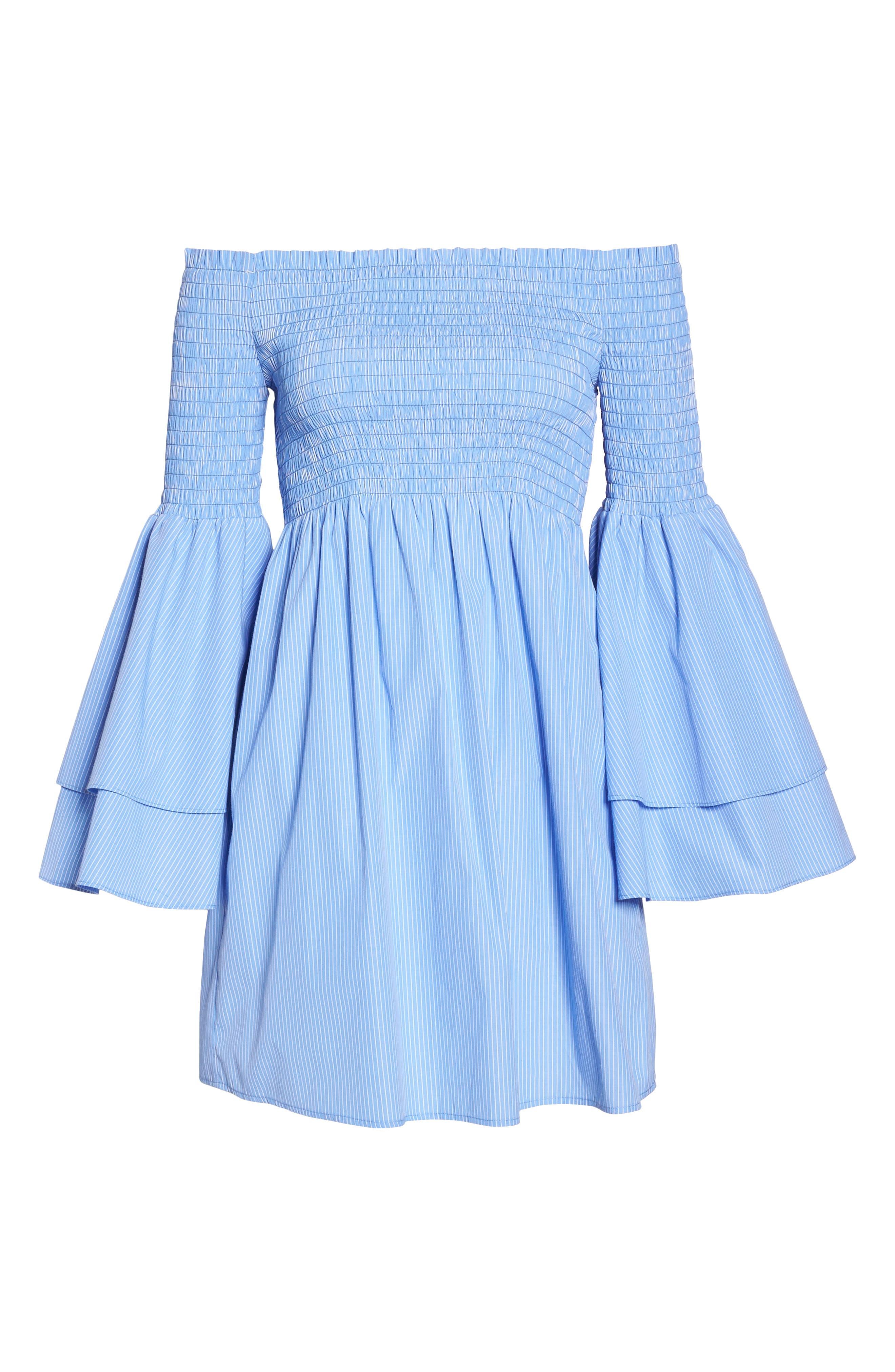 Smocked Off the Shoulder Bell Sleeve Dress,                             Alternate thumbnail 6, color,                             Blue/ White Stripe