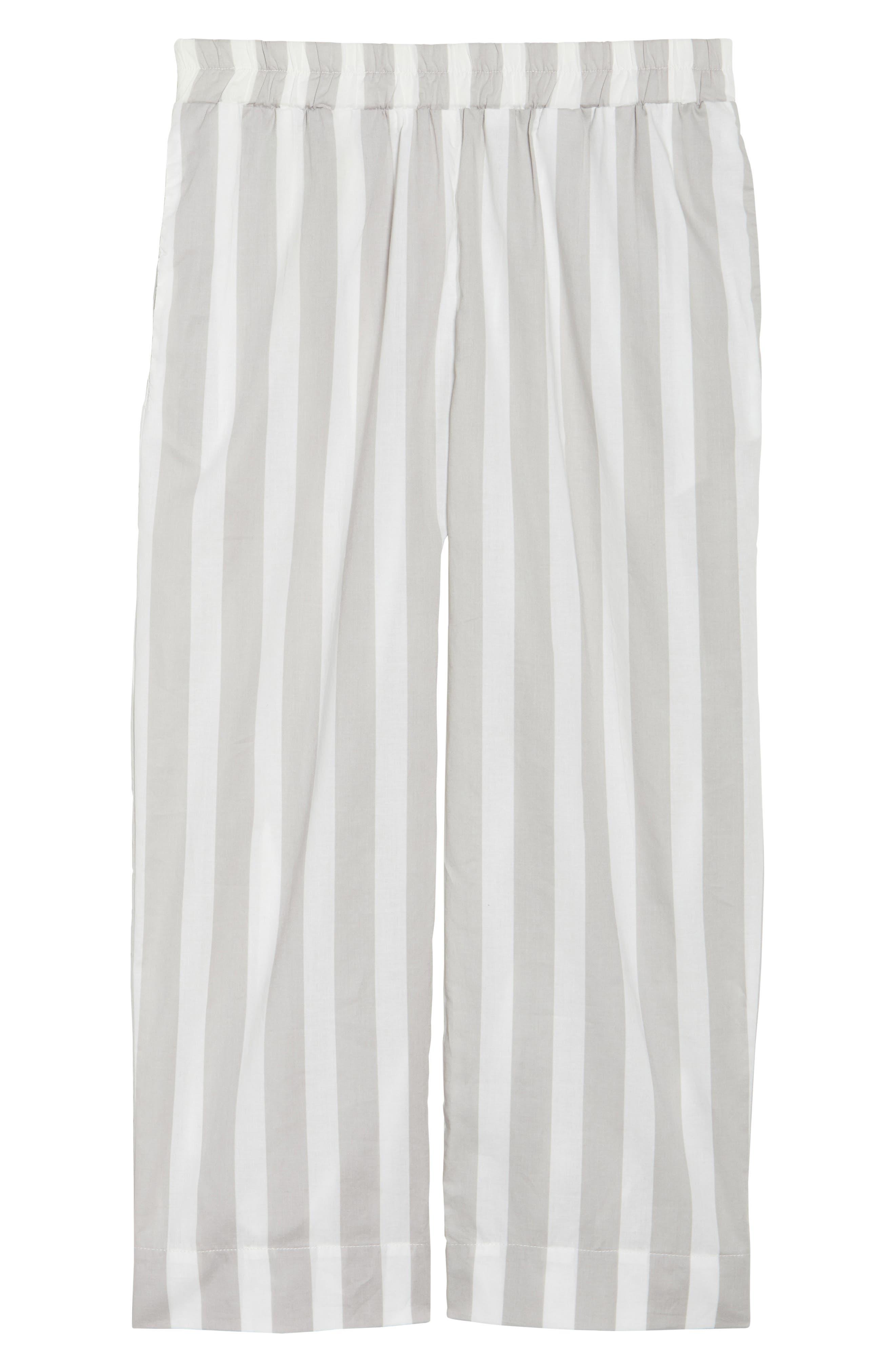 Capri Pajama Pants,                             Alternate thumbnail 4, color,                             Grey Stripe