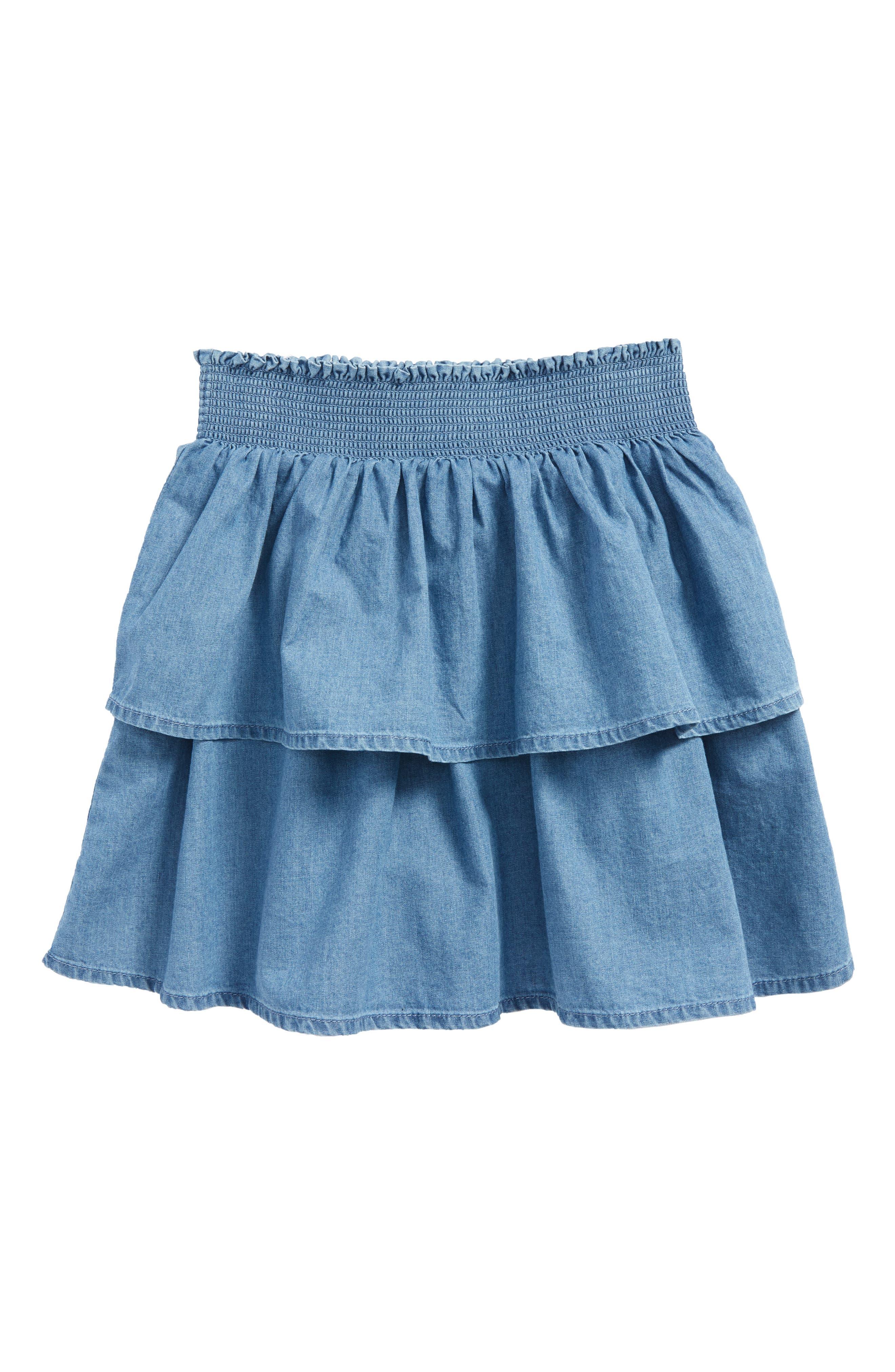 Ruffle Denim Skirt,                             Main thumbnail 1, color,                             Chambray Mch