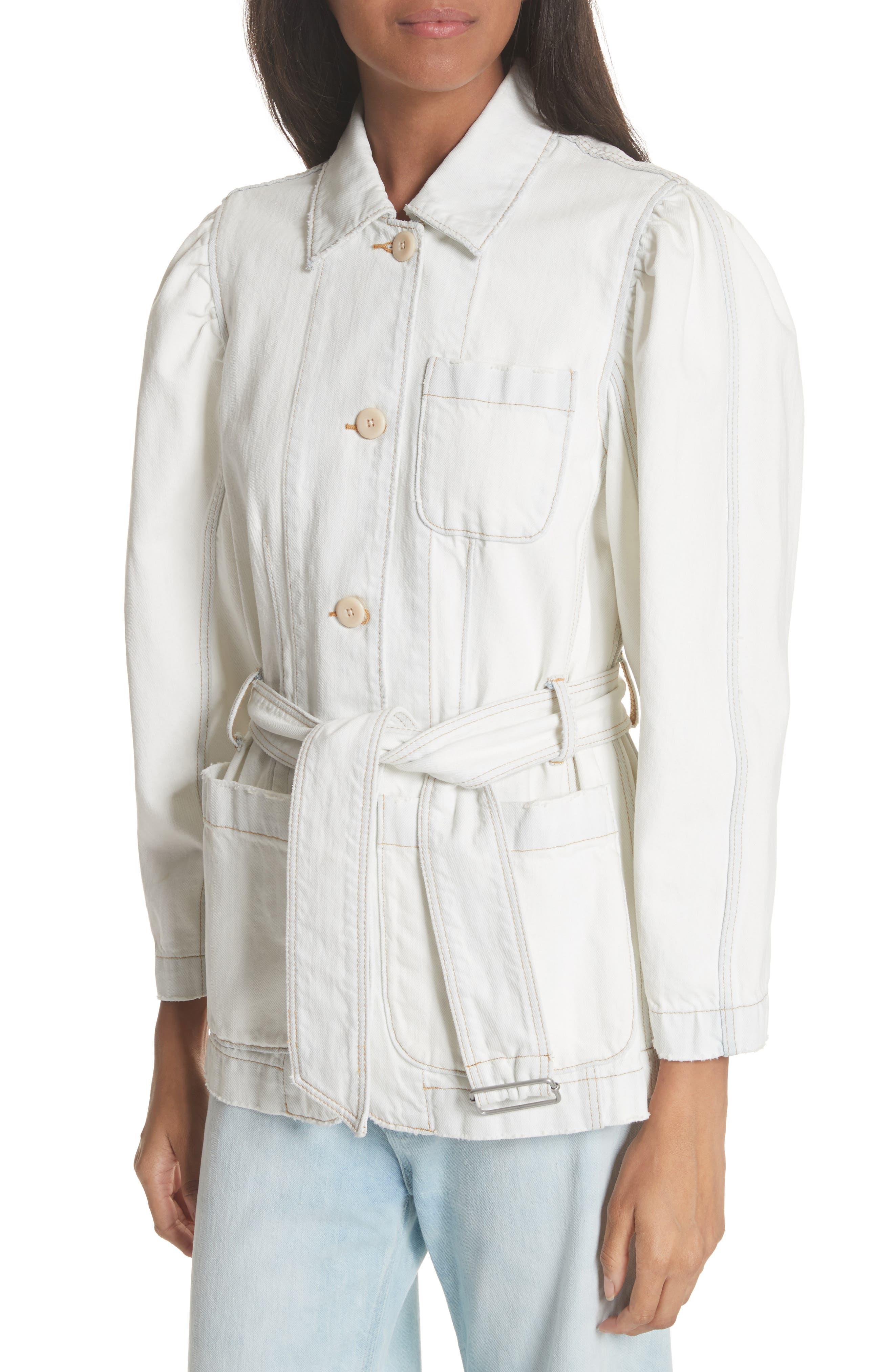 Belted Denim Jacket,                             Alternate thumbnail 4, color,                             Whiteout Wash