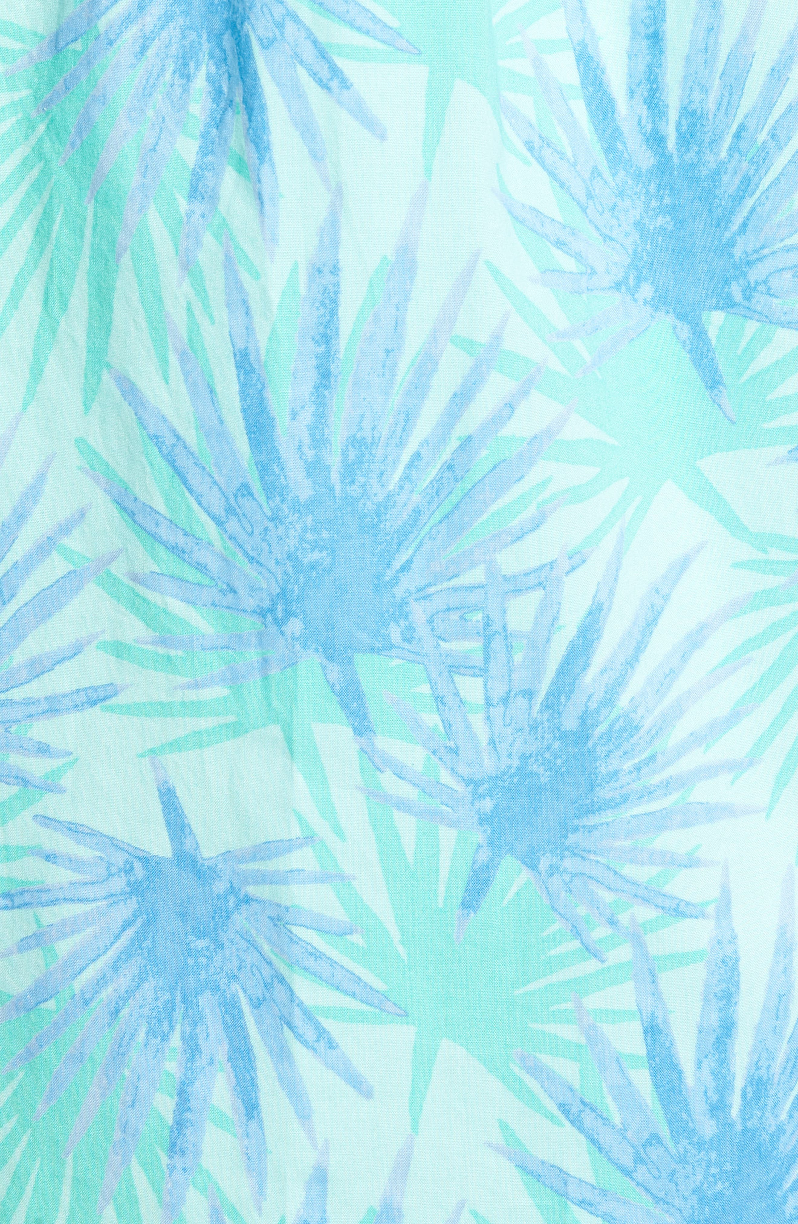 Electric Palm Slim Fit Print Short Sleeve Sport Shirt,                             Alternate thumbnail 5, color,                             Aquamarine
