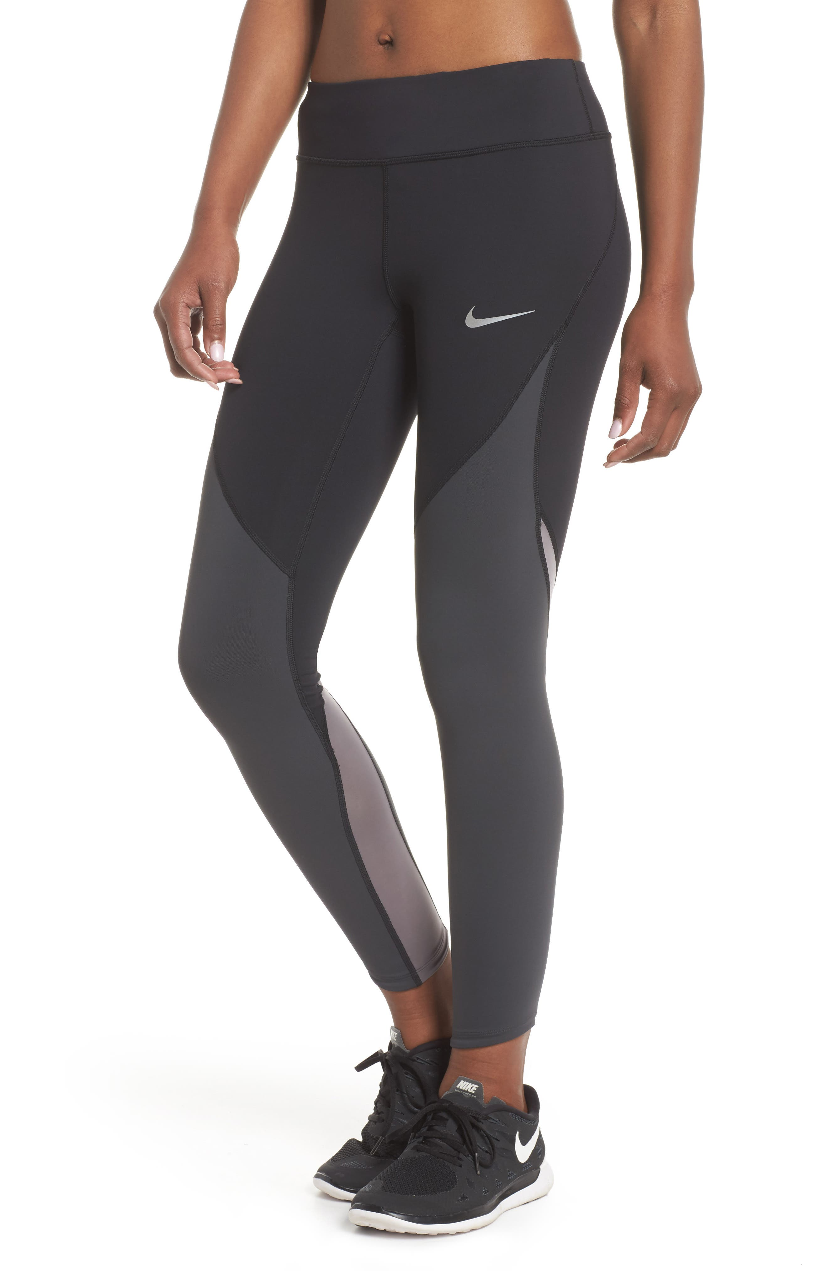 Power Epic Lux Colorblock Running Tights,                             Main thumbnail 1, color,                             Black/ Anthracite/ White