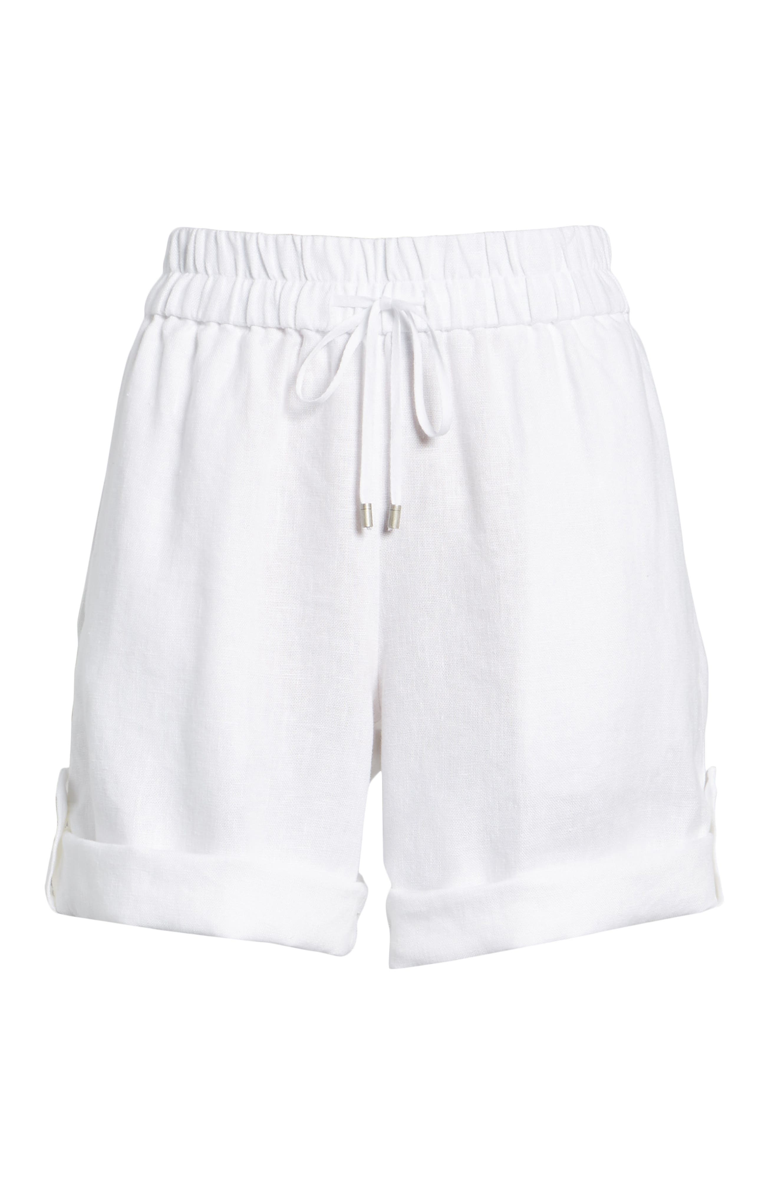 Rolled Organic Linen Shorts,                             Alternate thumbnail 6, color,                             White