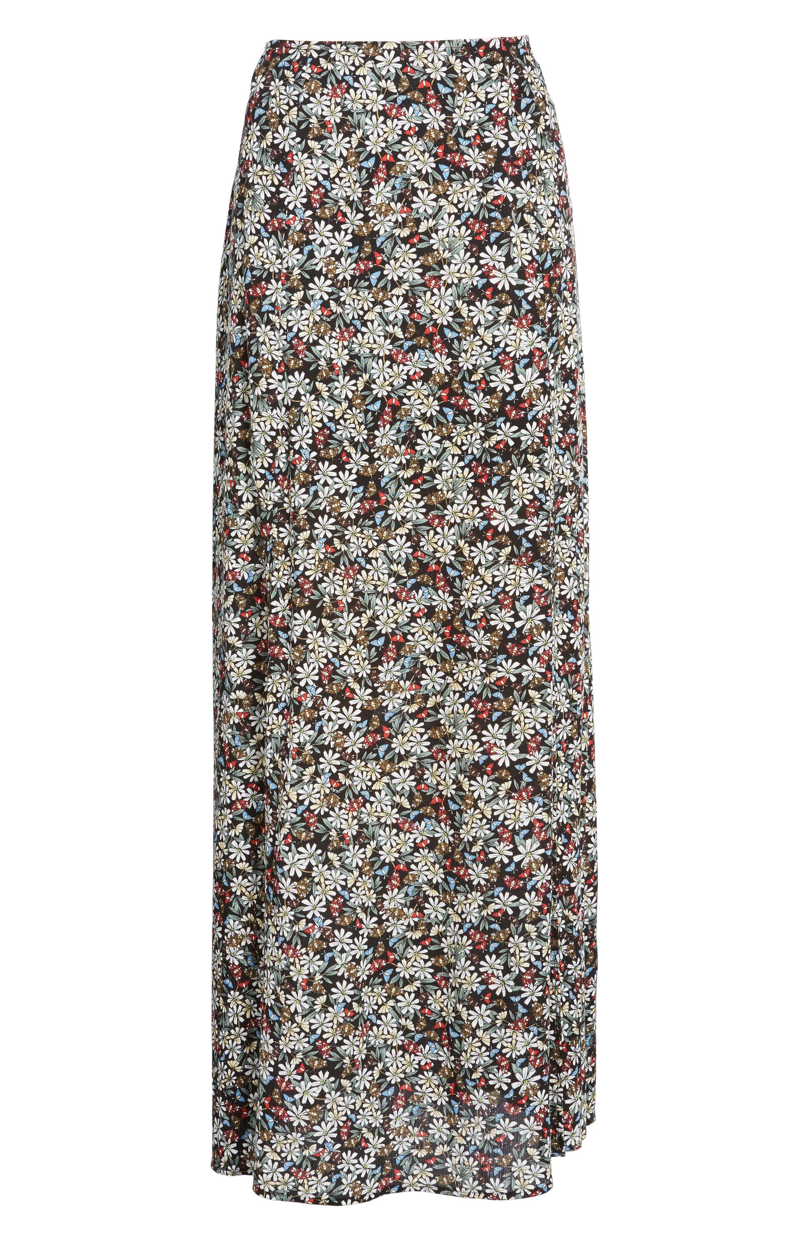 Flora Slit Front Maxi Skirt,                             Alternate thumbnail 7, color,                             Multi Black