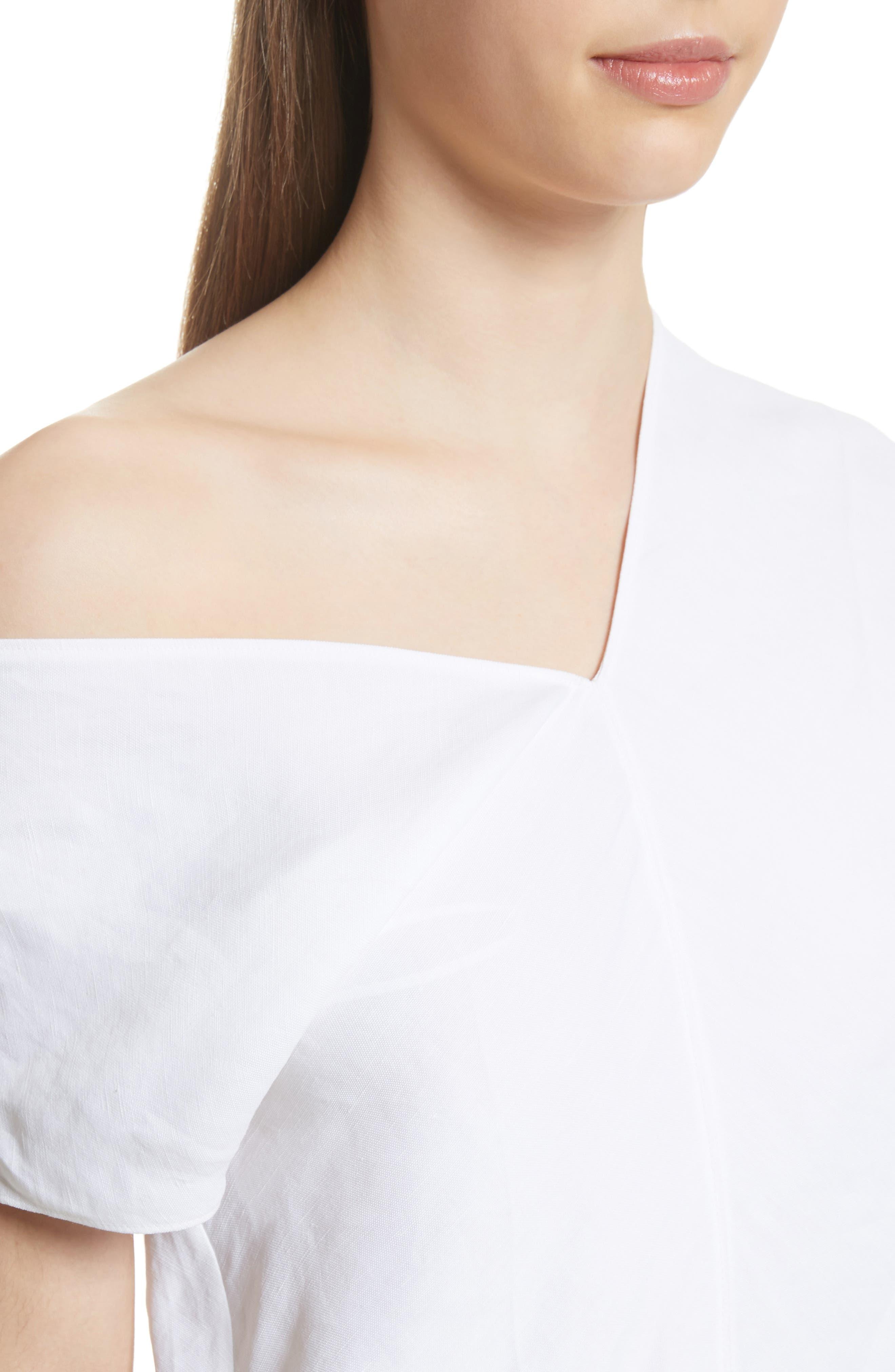 One-Shoulder Linen Blend Top,                             Alternate thumbnail 4, color,                             Optic White