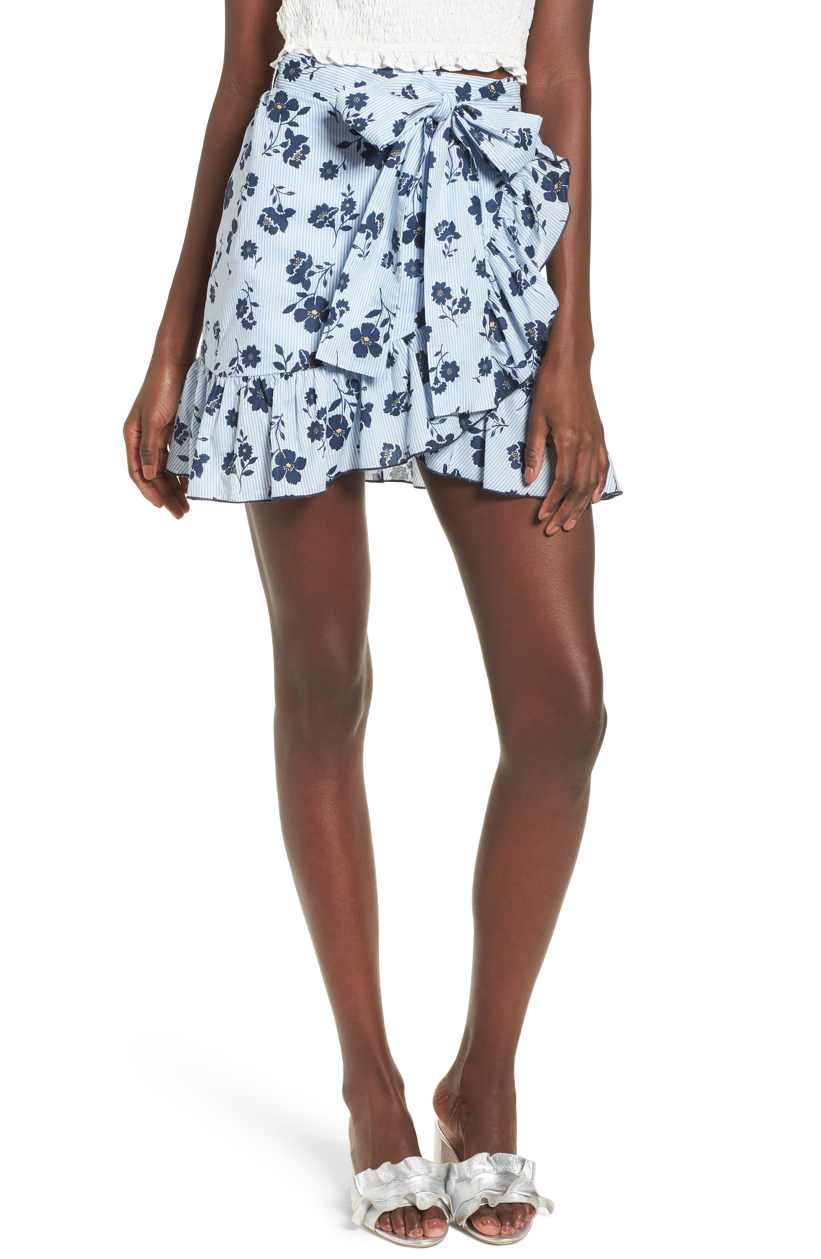 Floral Ruffle Wrap Skirt,                         Main,                         color, Sky Stripe