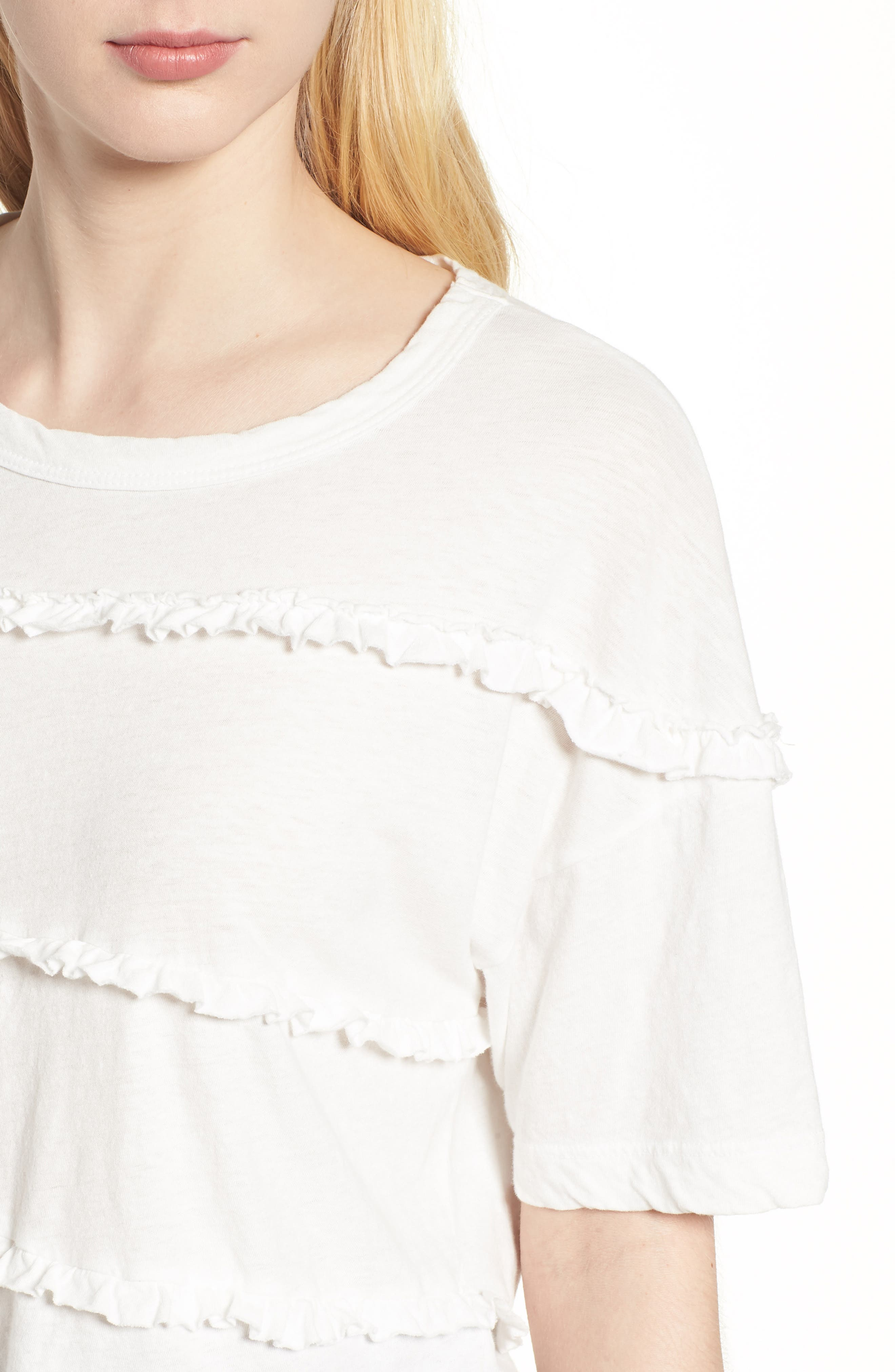 The Claudia Ruffle Tee,                             Alternate thumbnail 4, color,                             Star White