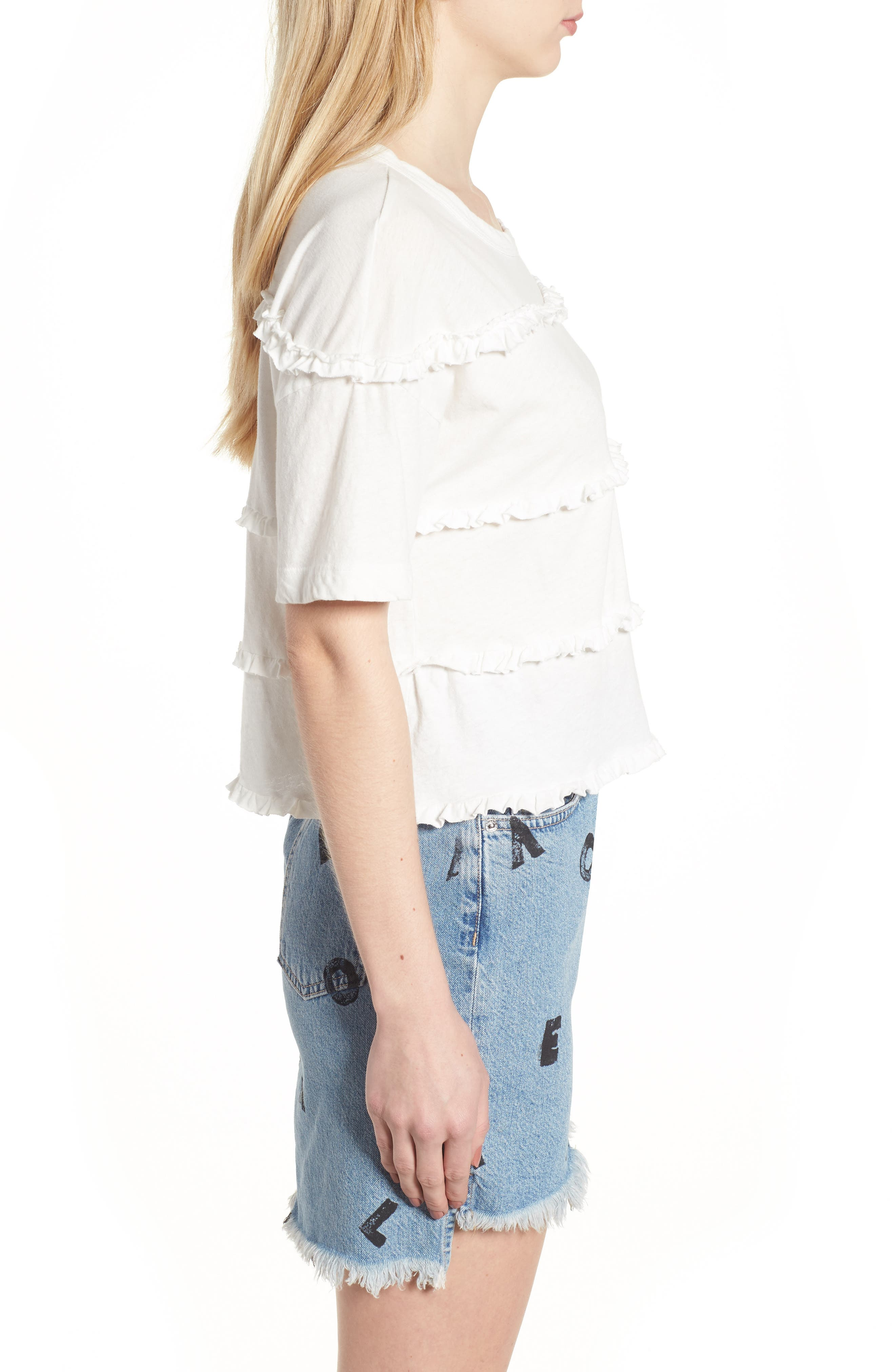 The Claudia Ruffle Tee,                             Alternate thumbnail 3, color,                             Star White