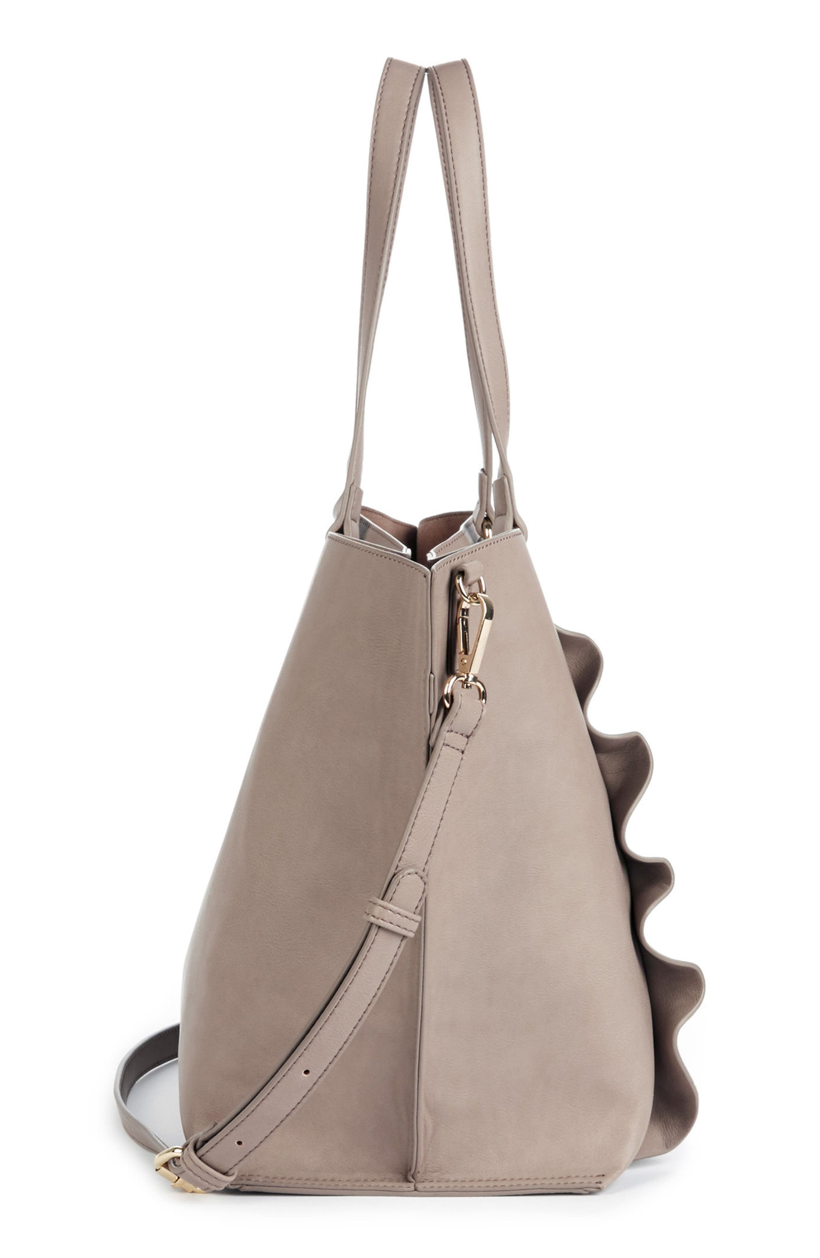 Adelina Ruffled Faux Leather Tote,                             Alternate thumbnail 5, color,                             Taupe