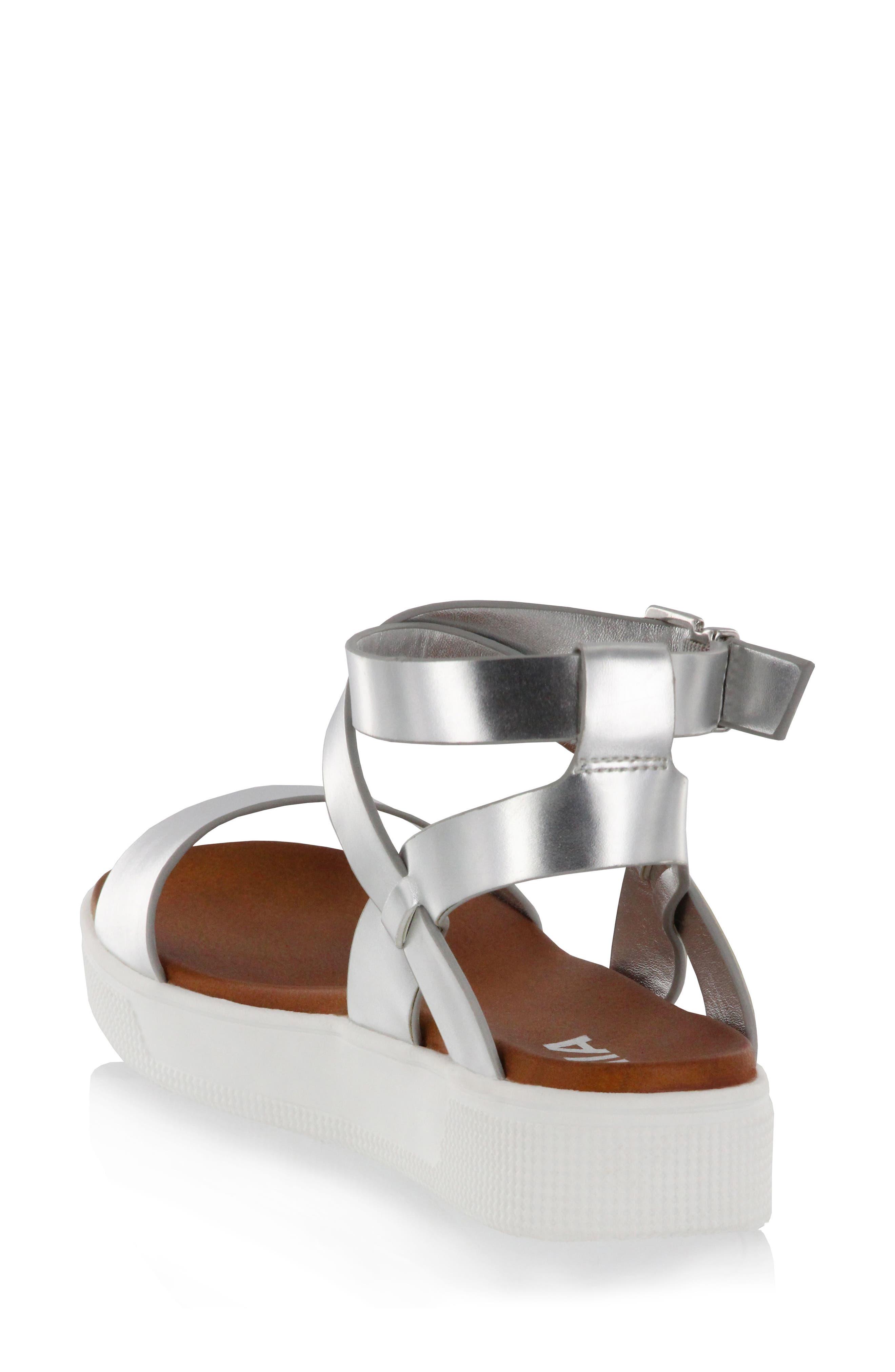 Calla Platform Sandal,                             Alternate thumbnail 2, color,                             Silver Faux Leather