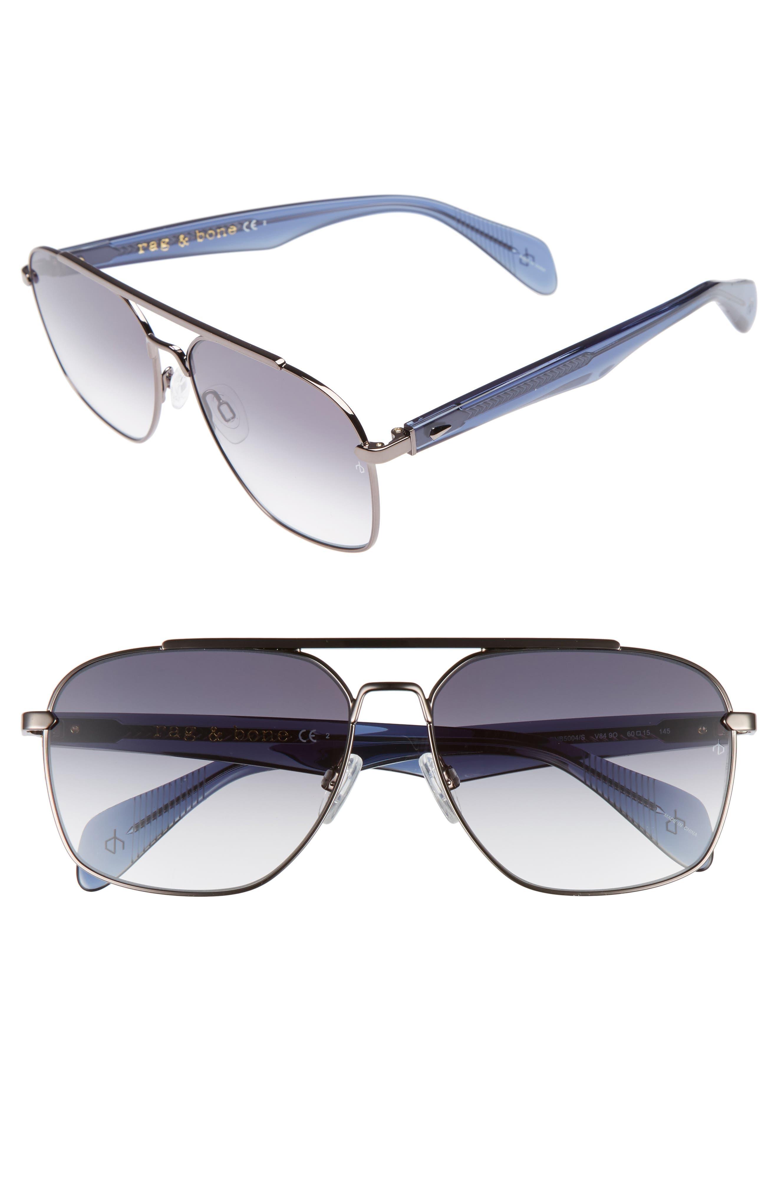 60mm Gradient Navigator Sunglasses,                         Main,                         color, Ruthenium Blue/ Grey