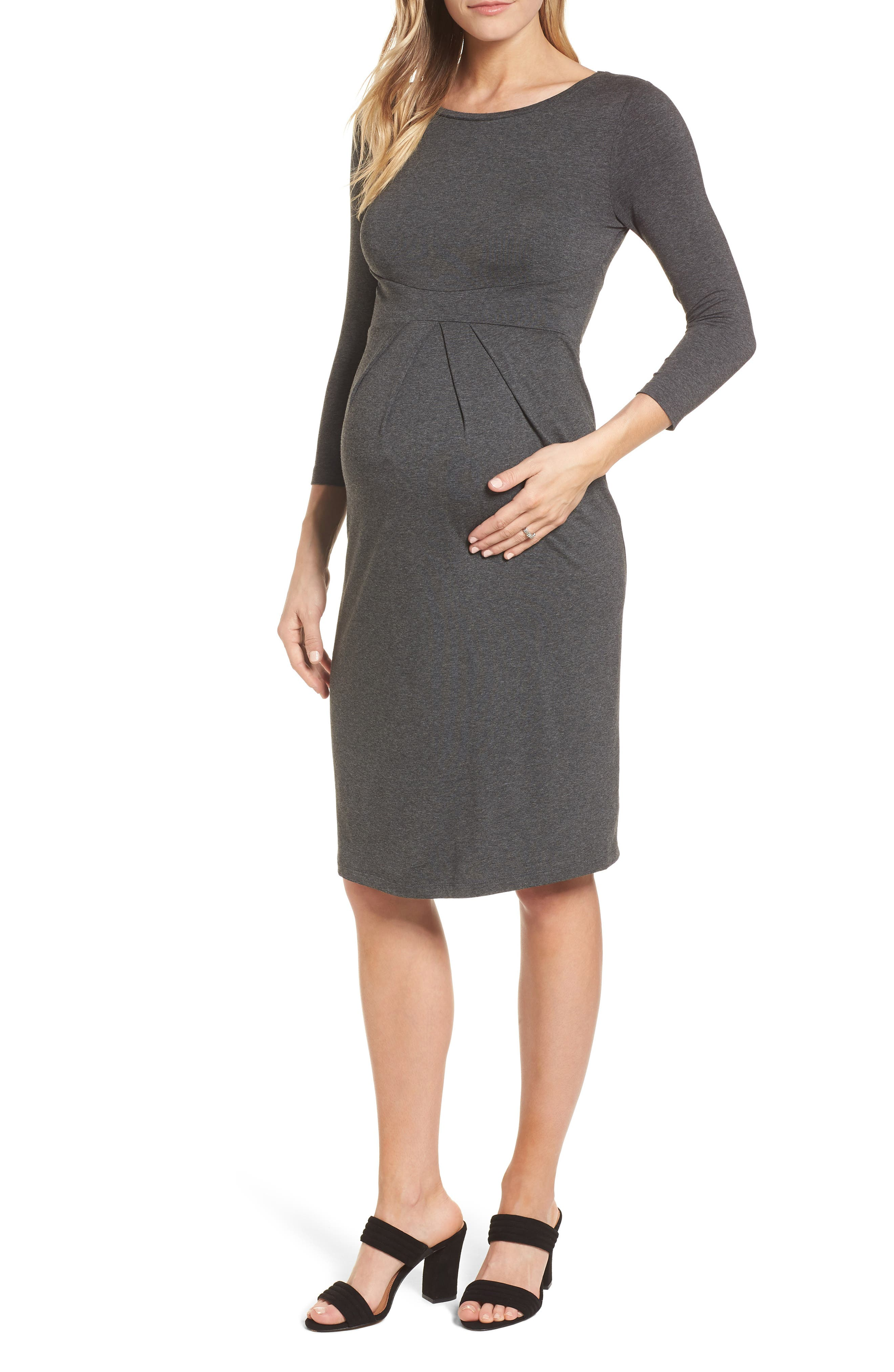 Ivybridge Jersey Maternity Dress,                             Main thumbnail 1, color,                             Dark Grey Marl