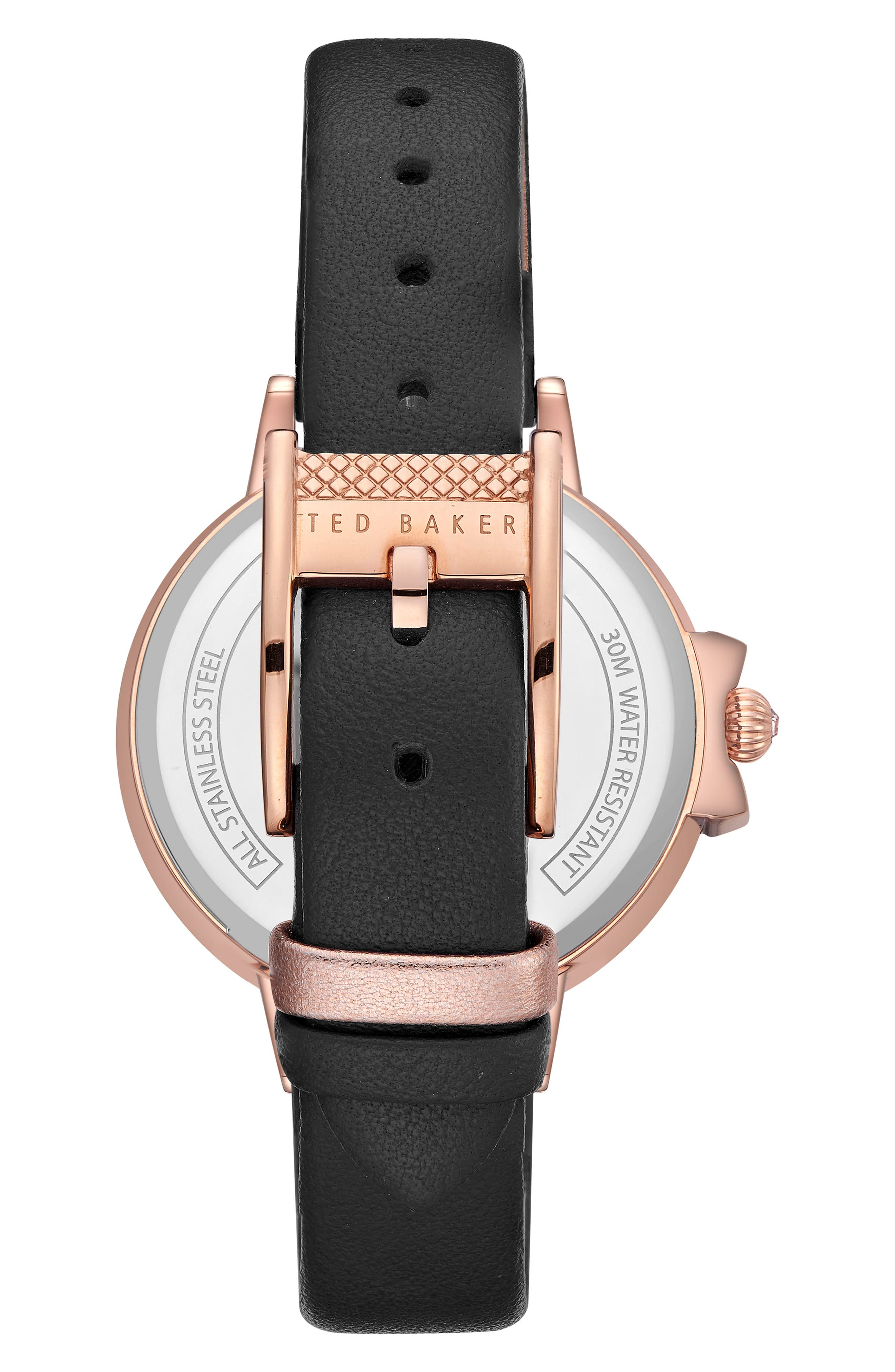 Leather Strap Watch, 36mm,                             Alternate thumbnail 3, color,                             Black/ Rose Gold