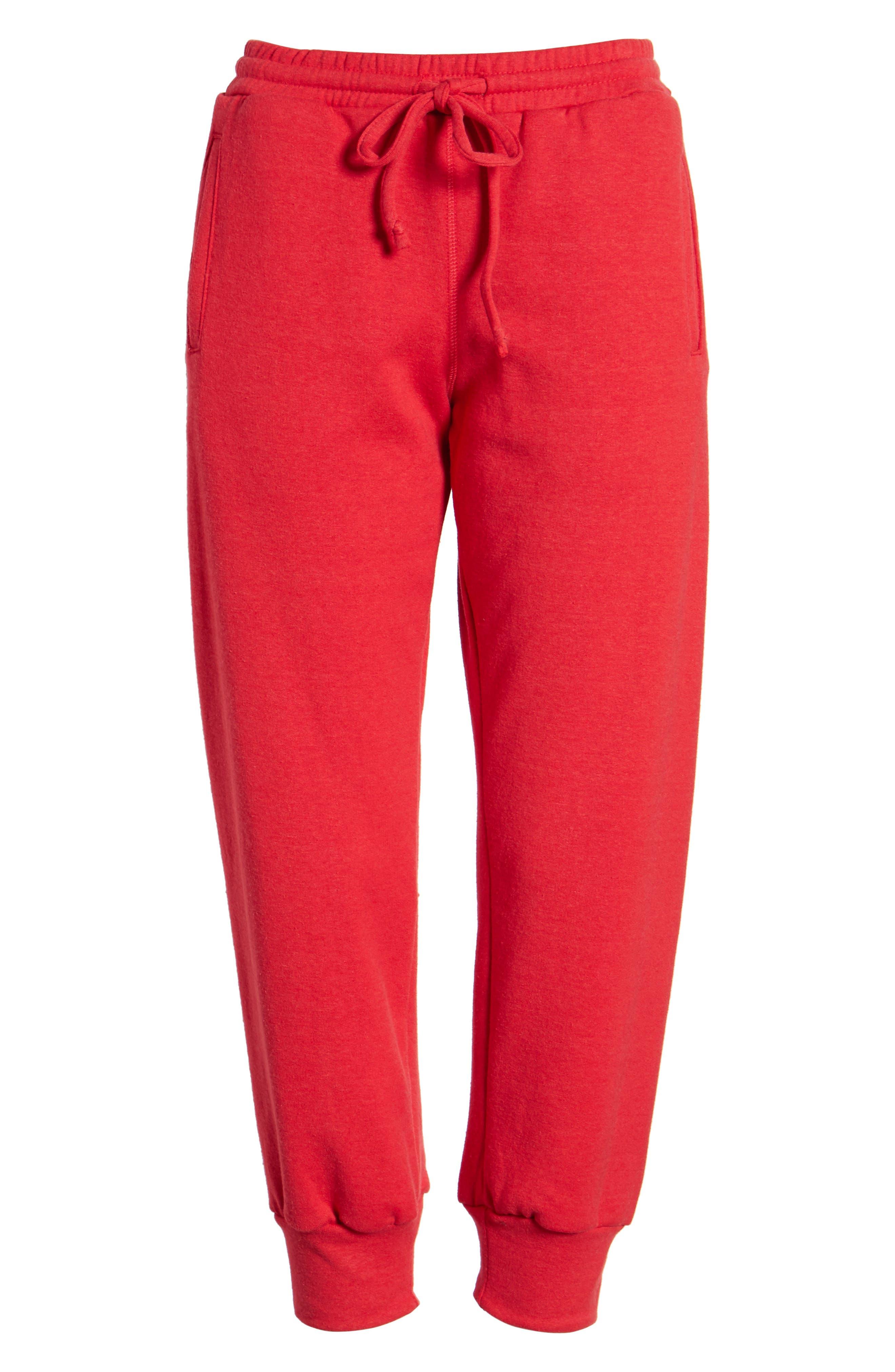 Cambridge Crop Sweatpants,                             Alternate thumbnail 7, color,                             Cherry